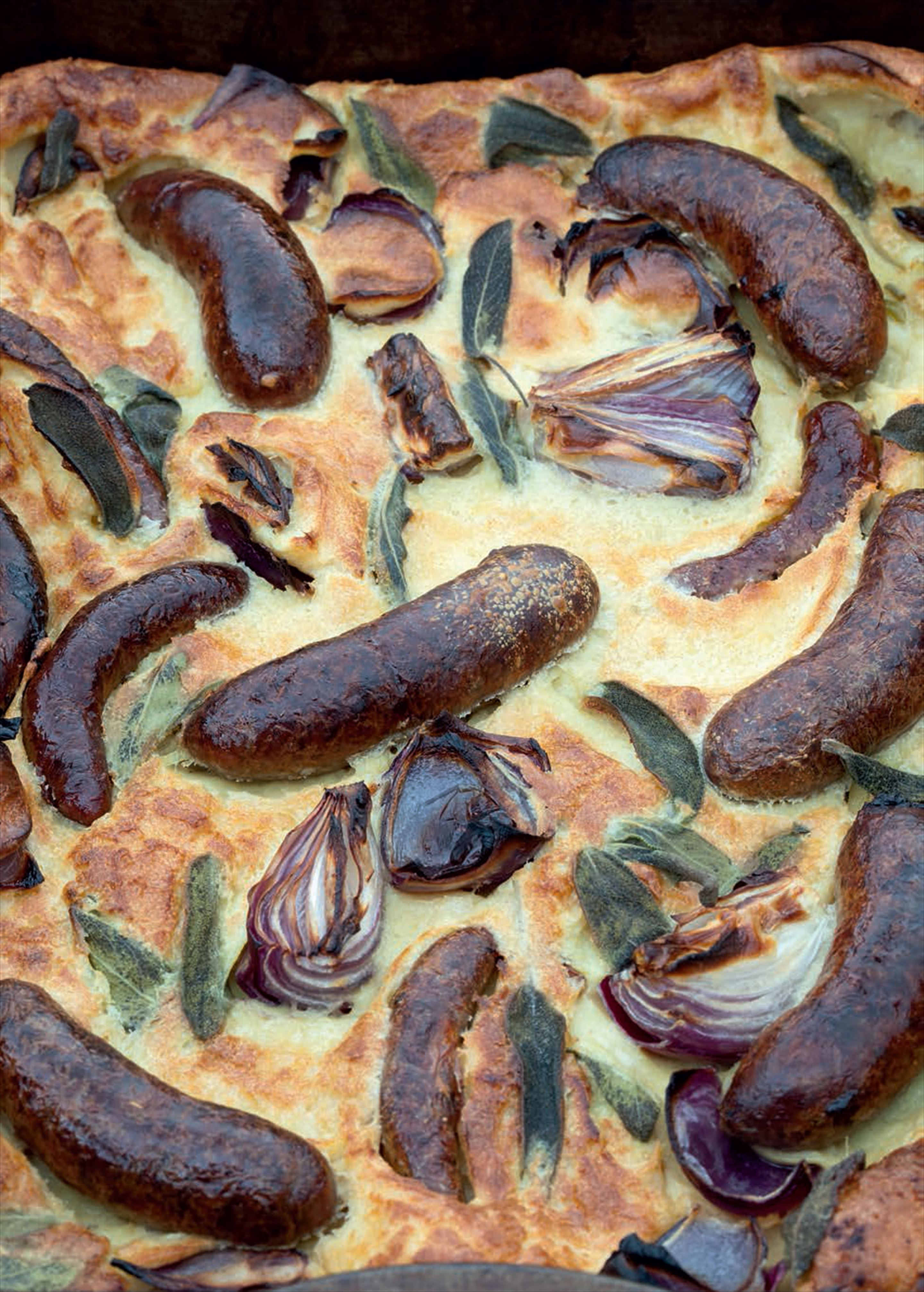 Toad-in-the-hole with sage and red onions