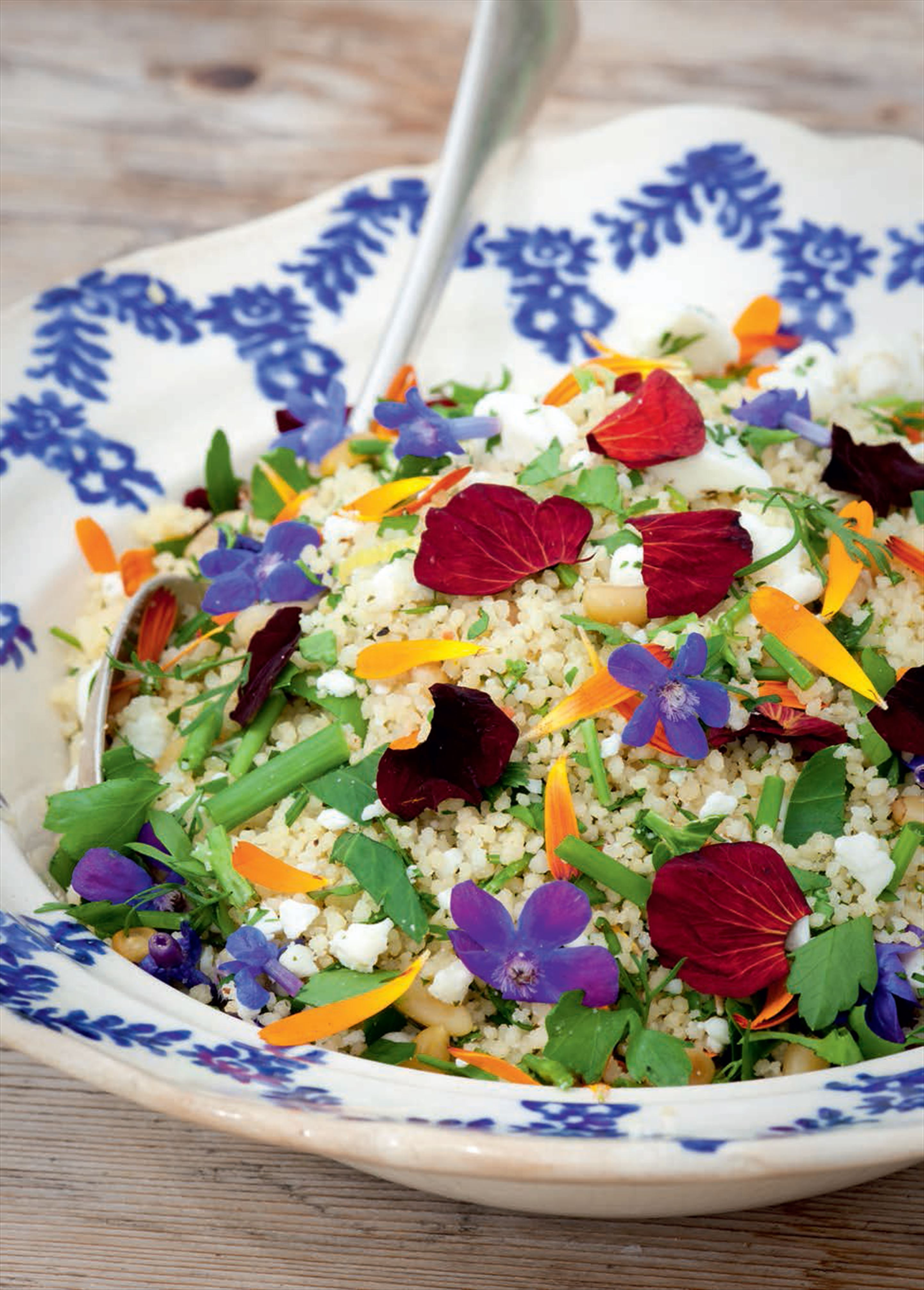 Edible flower couscous salad