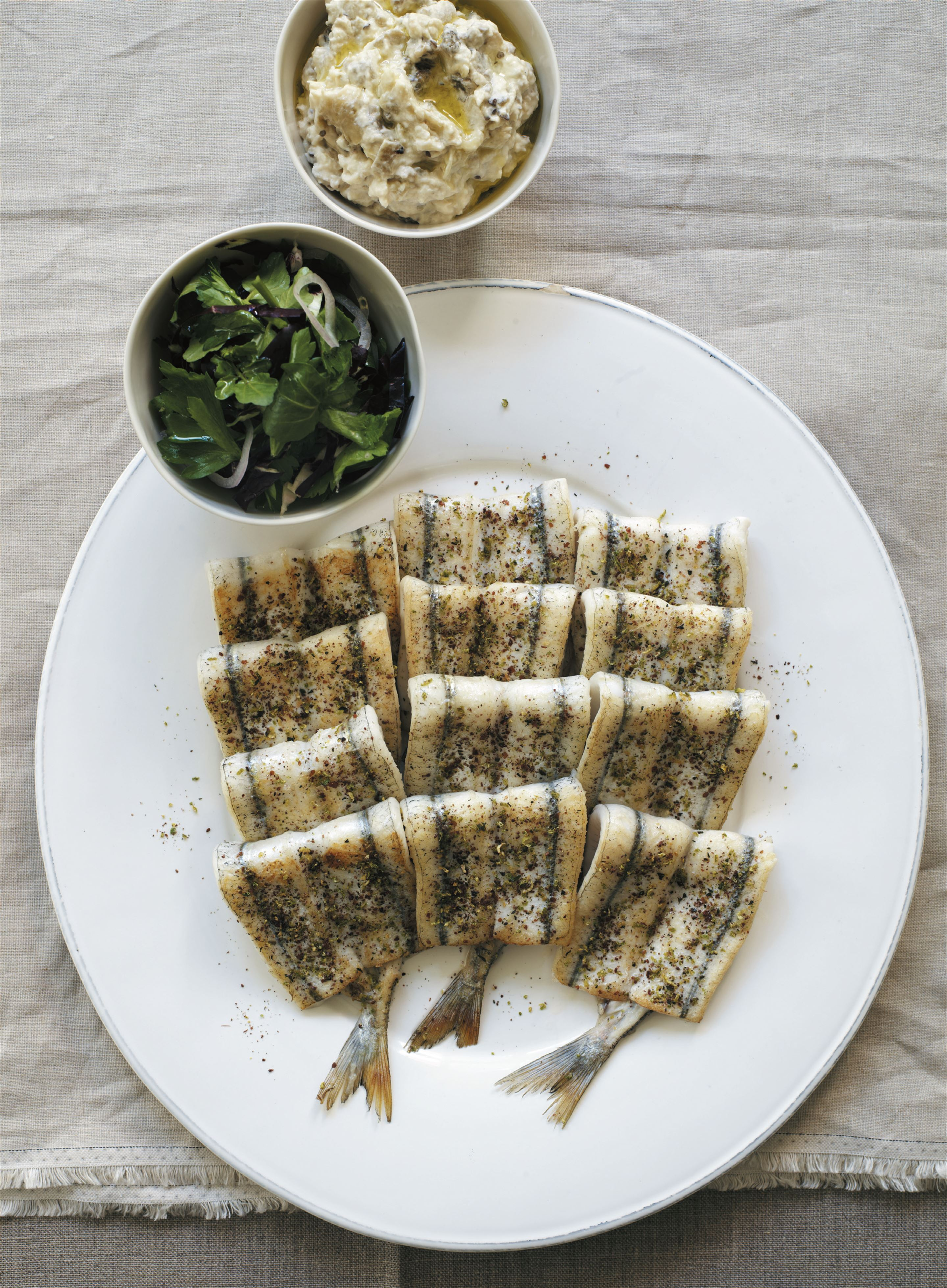 Garfish grilled with thyme, lime and sumac