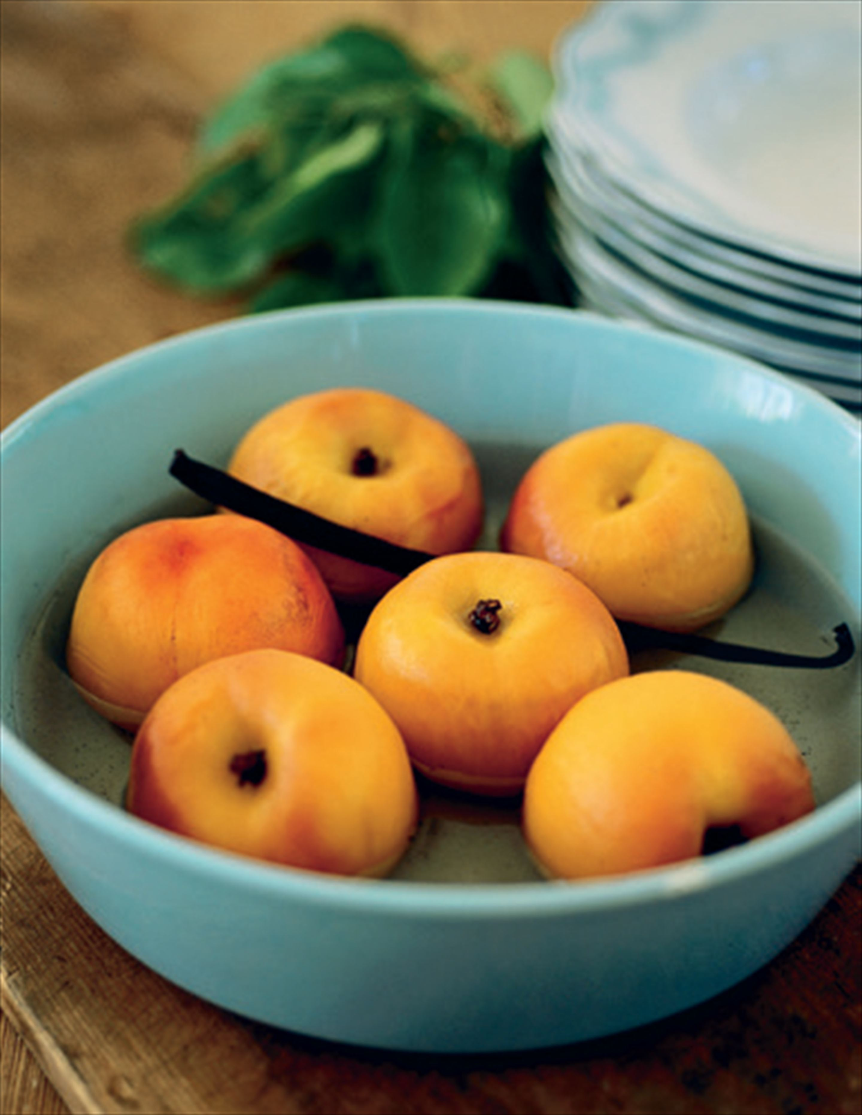Vanilla-poached peaches or plums