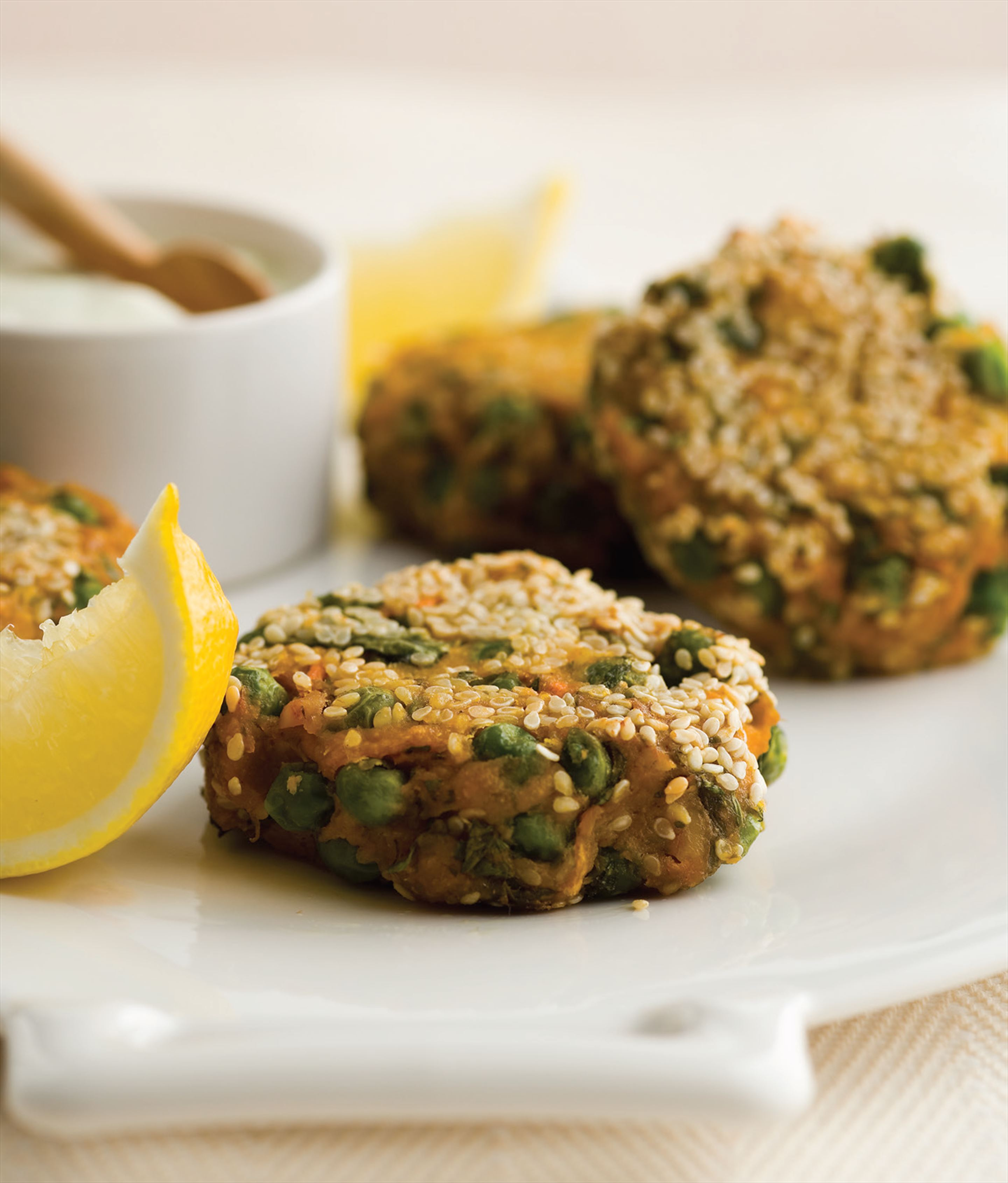 Tasty pumpkin, pea and walnut patties