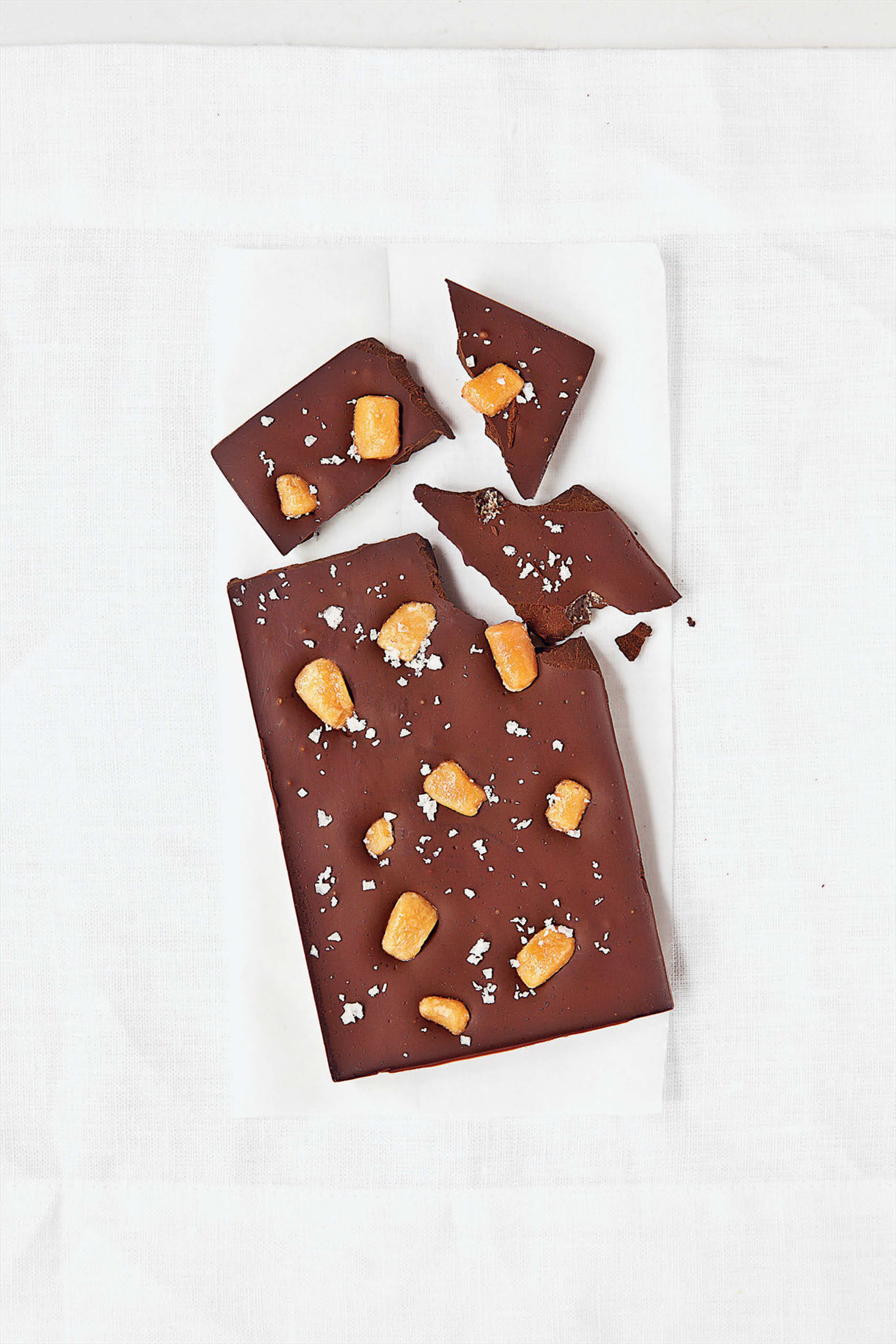 Sea salt and caramel chocolate slab