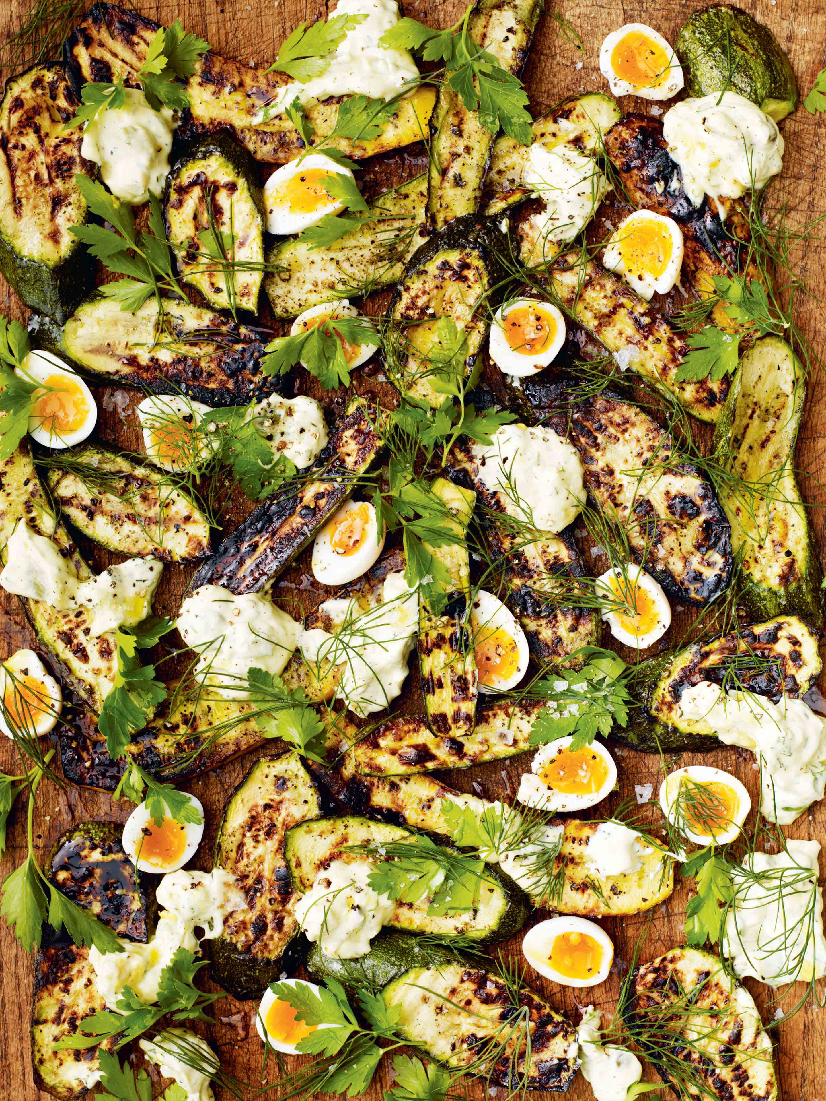 Barbecued courgettes with quail eggs & tartare sauce