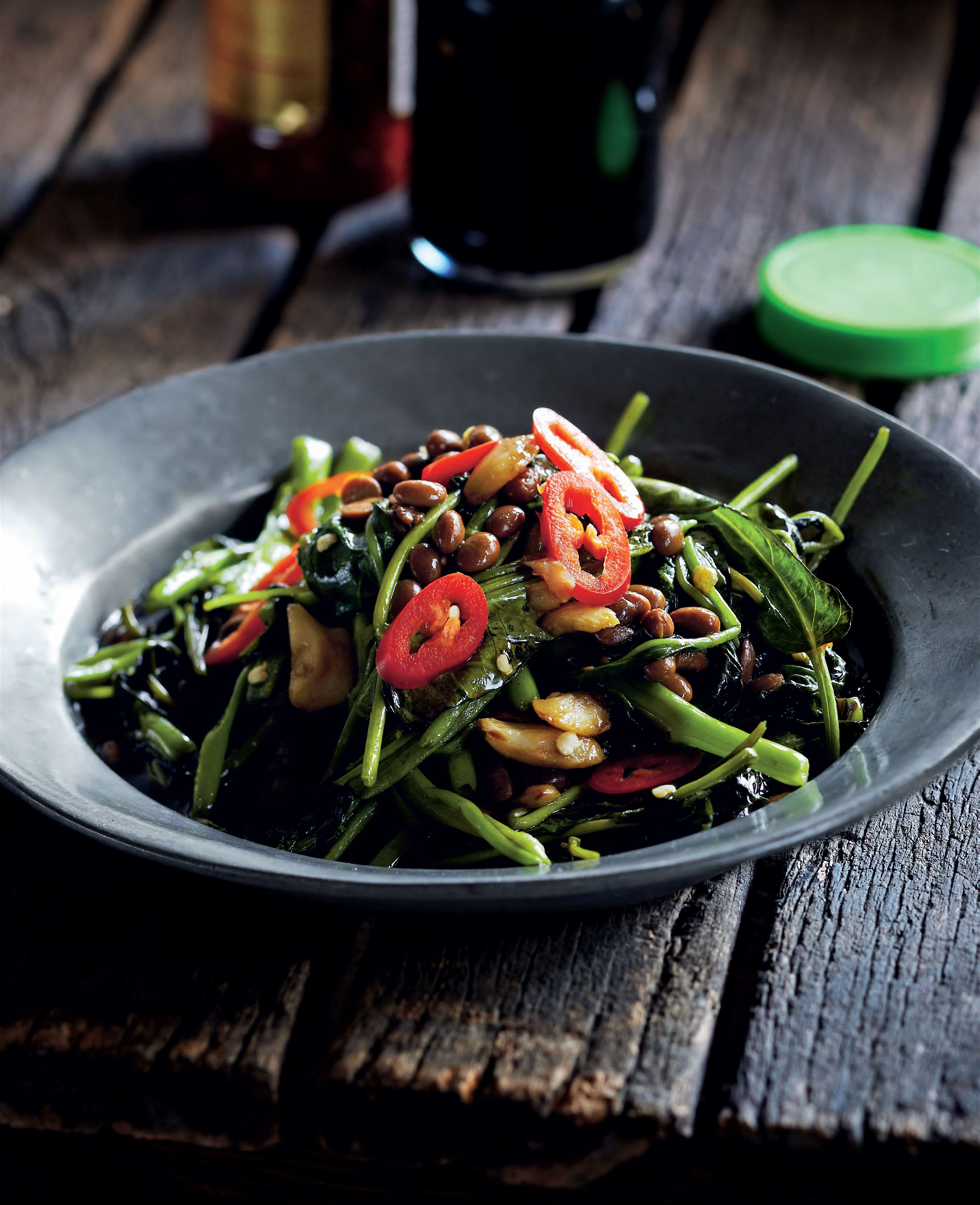 Water spinach with fermented soya beans