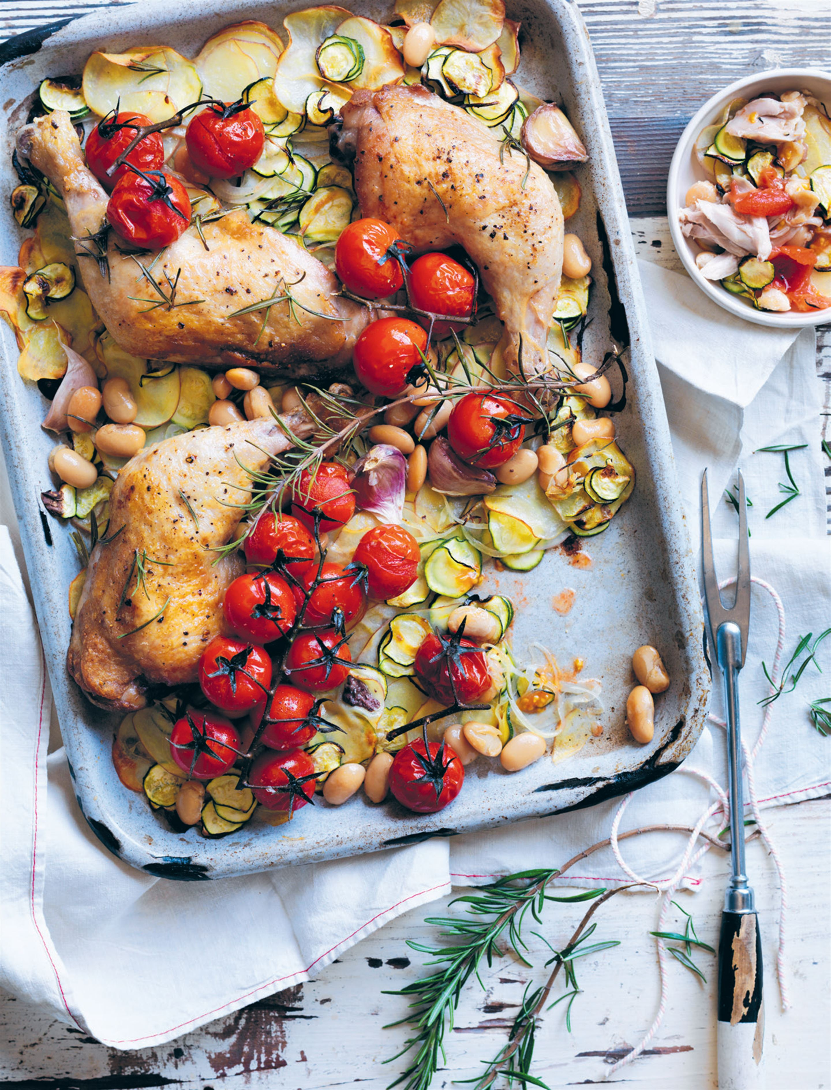 Chicken with cherry tomatoes and butter beans
