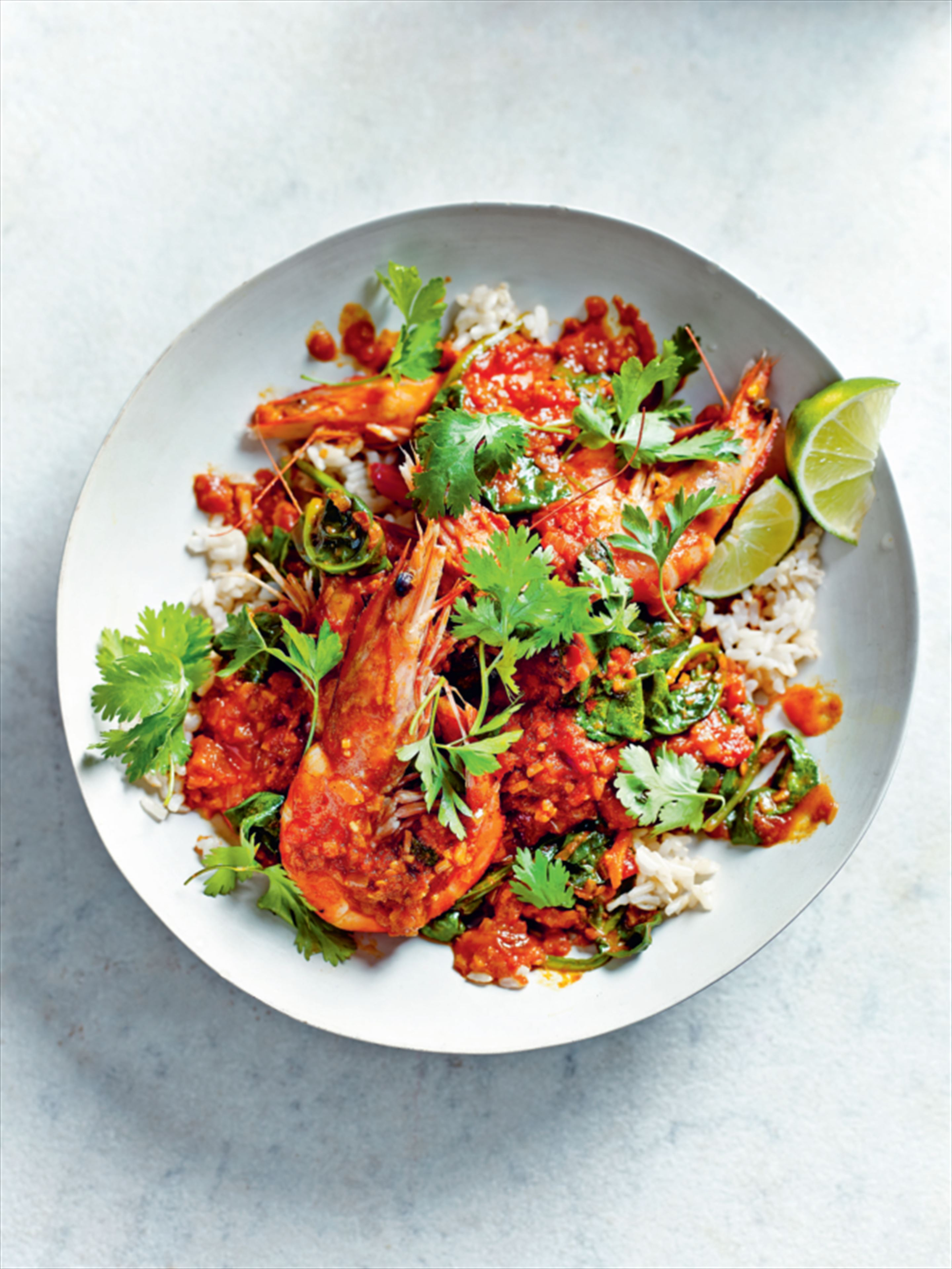 King prawn and spinach curry with herby brown rice