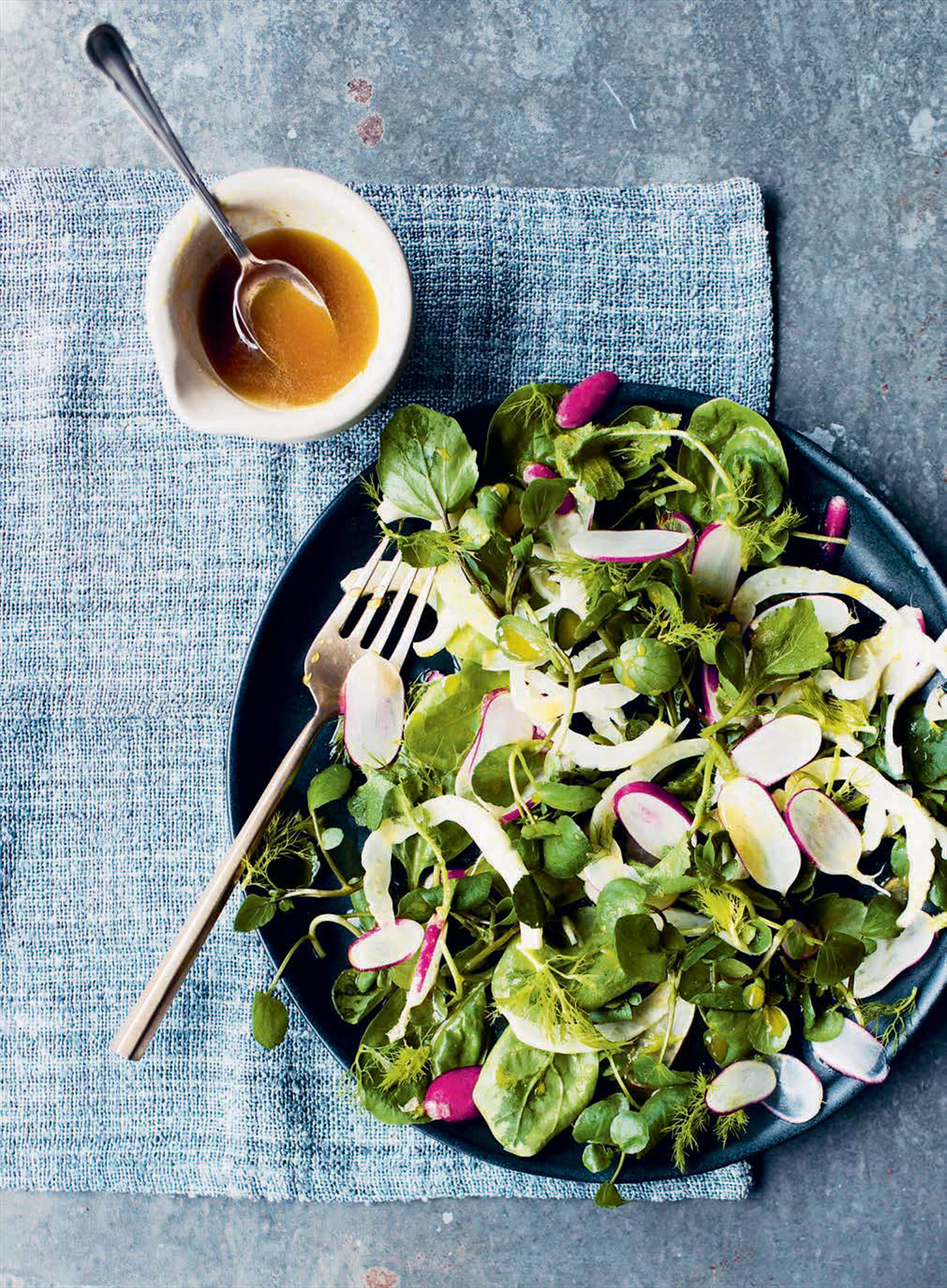 Honey mustard, watercress and radish salad