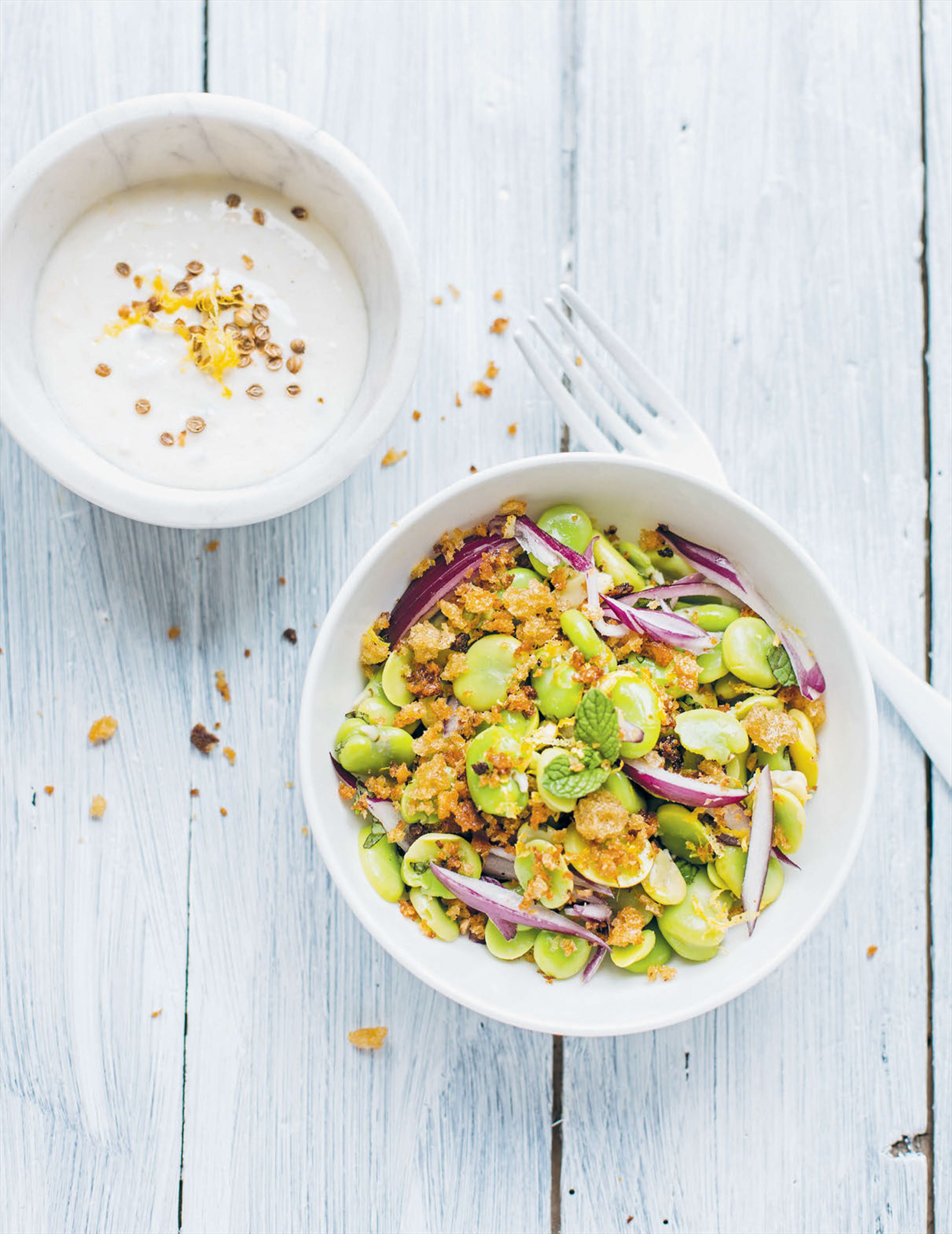 Moroccan broad bean salad with yoghurt and crispy breadcrumbs