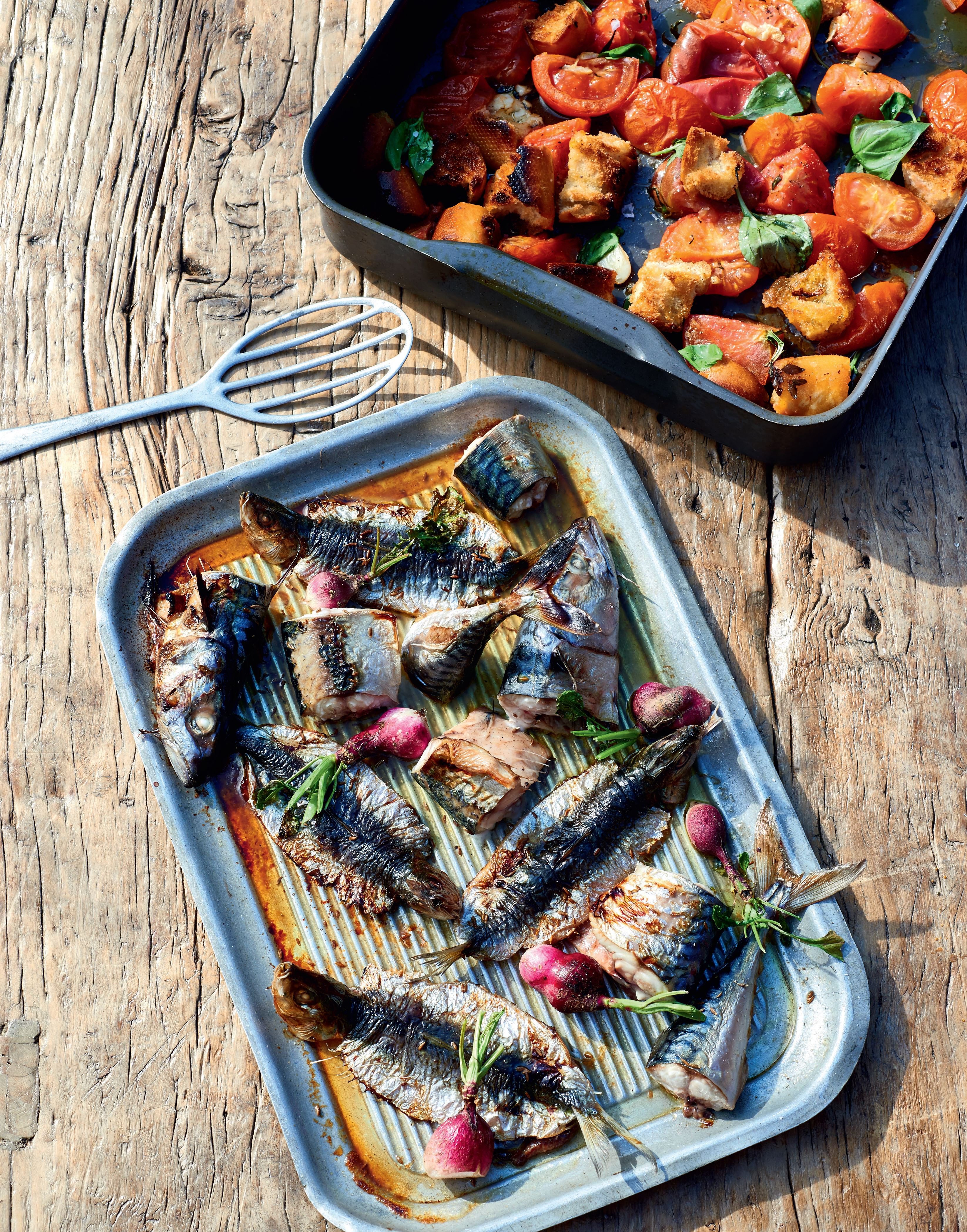 Roasted sardines and mackerel with radishes