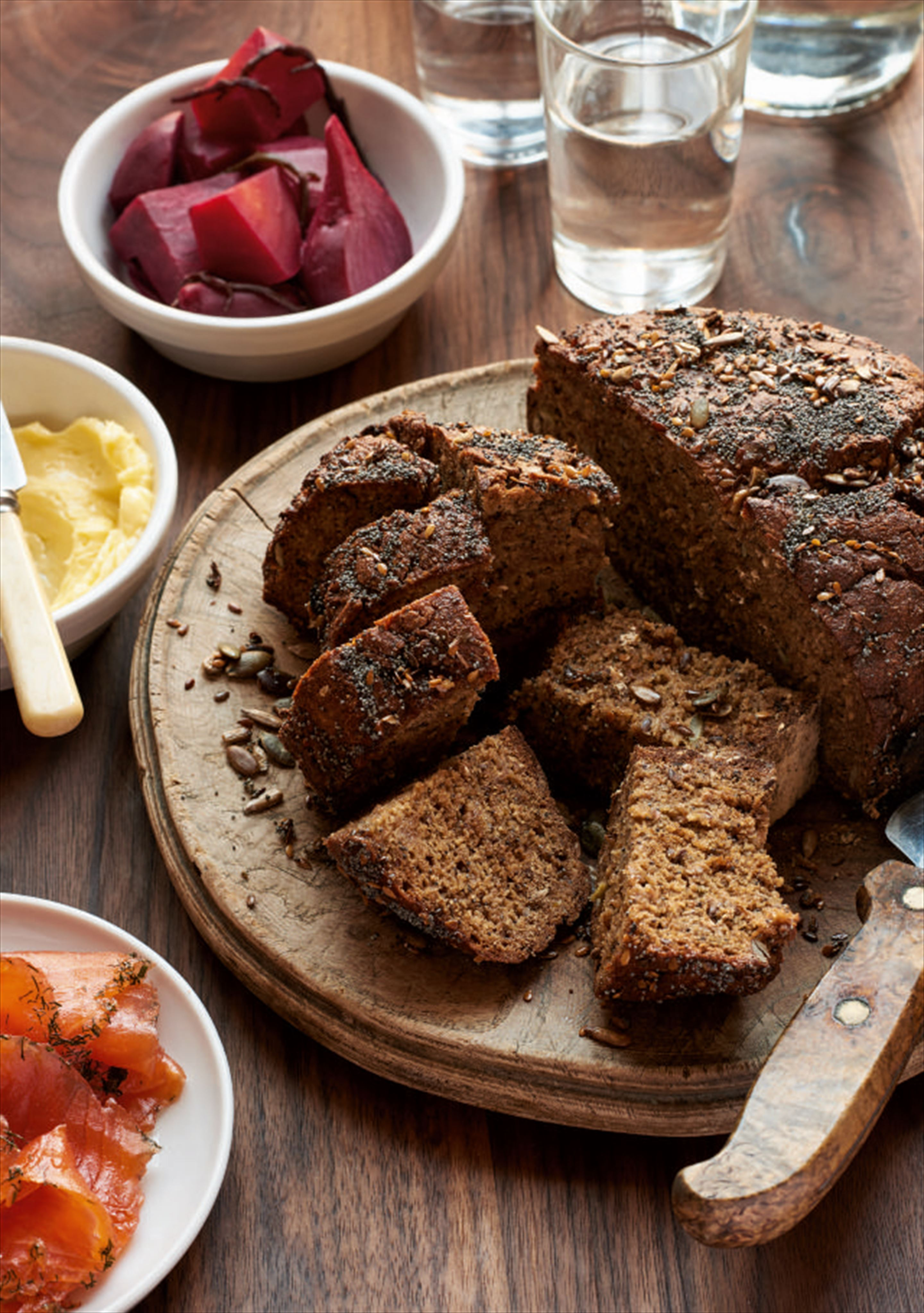 Seeded rye and honey soda bread