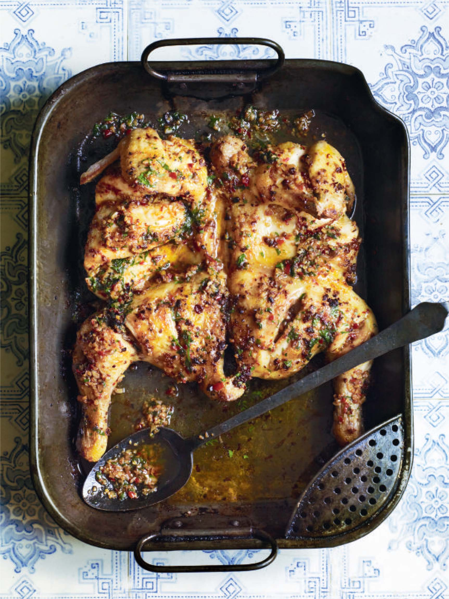 Grilled piri piri chicken with potato crisps