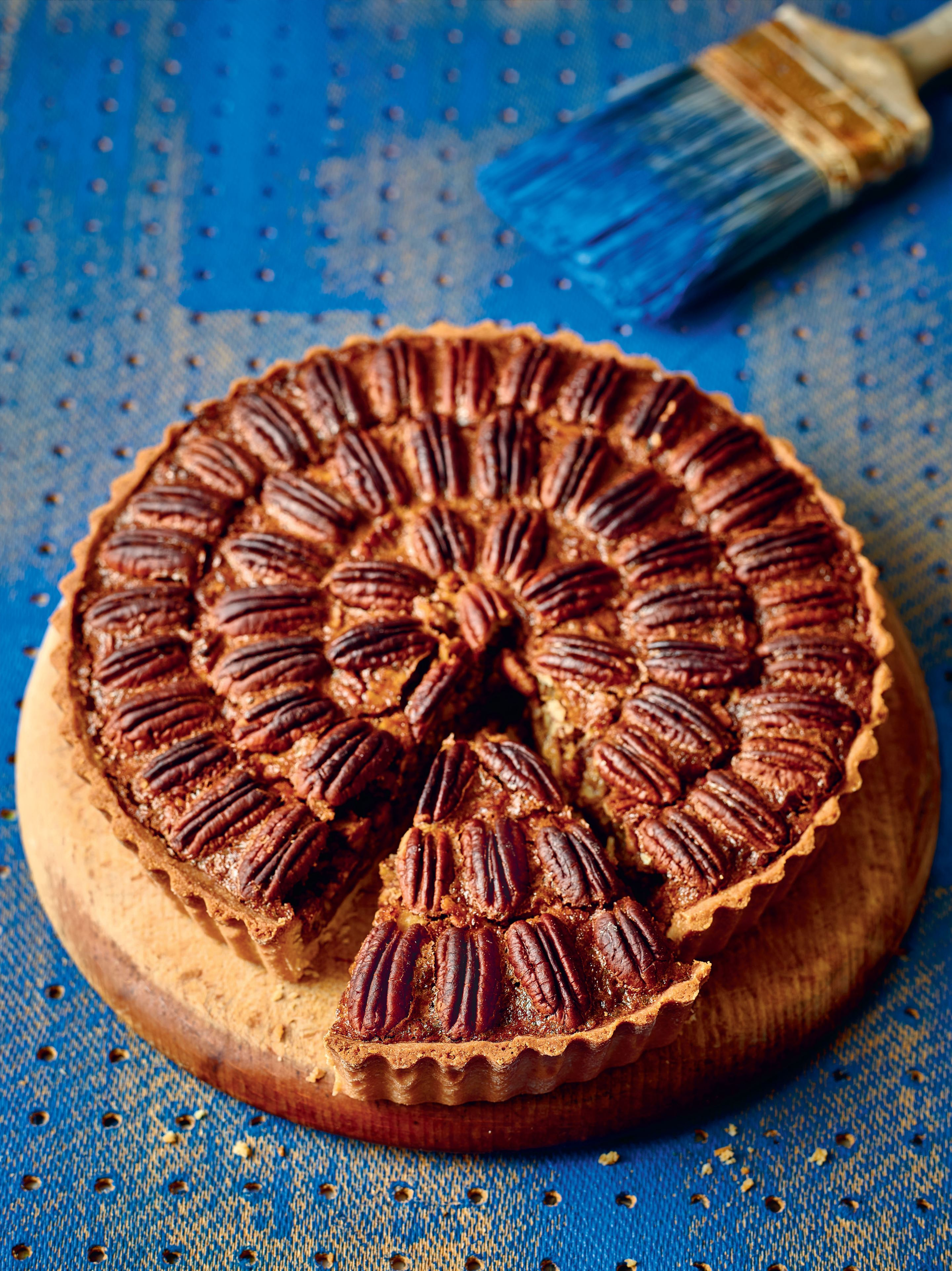 Pecan pie with spiced rum