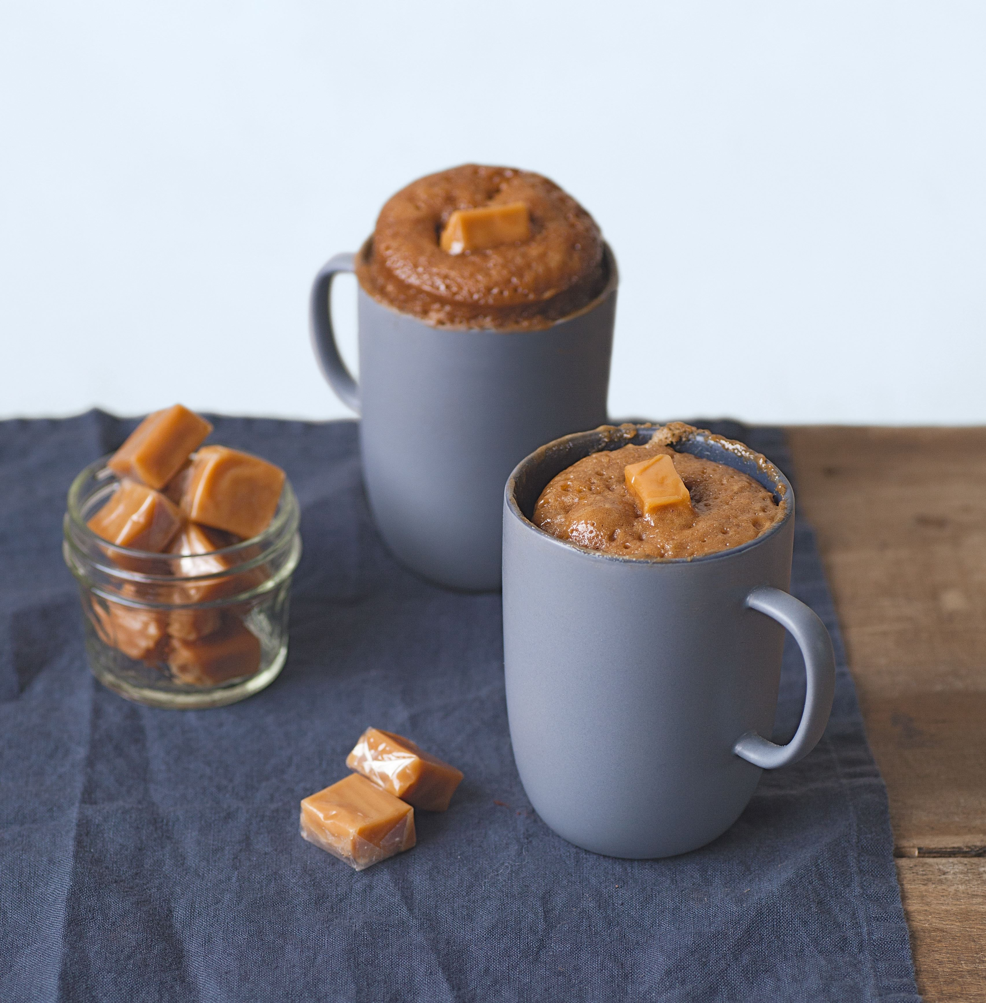 Choc-coffee mug cake with a soft caramel middle