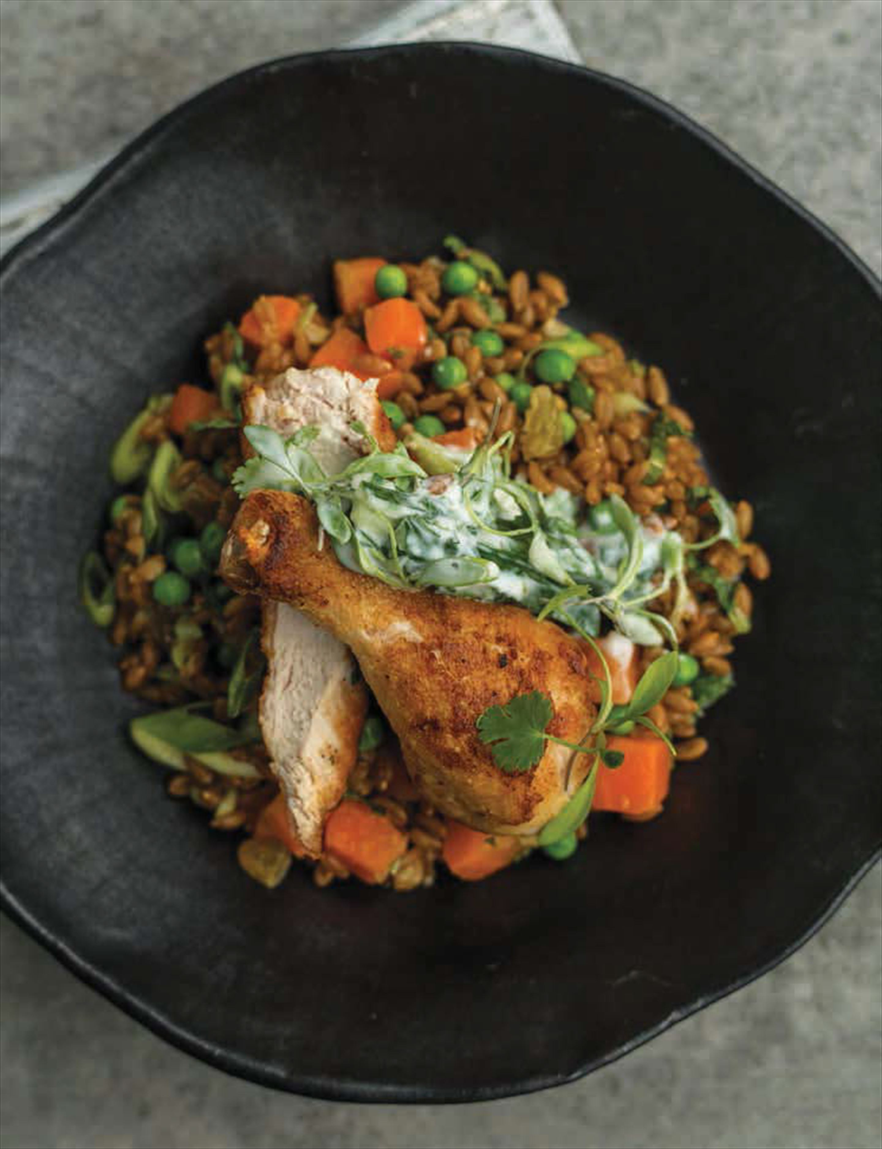 Crispy chicken and curried spelt salad with raita