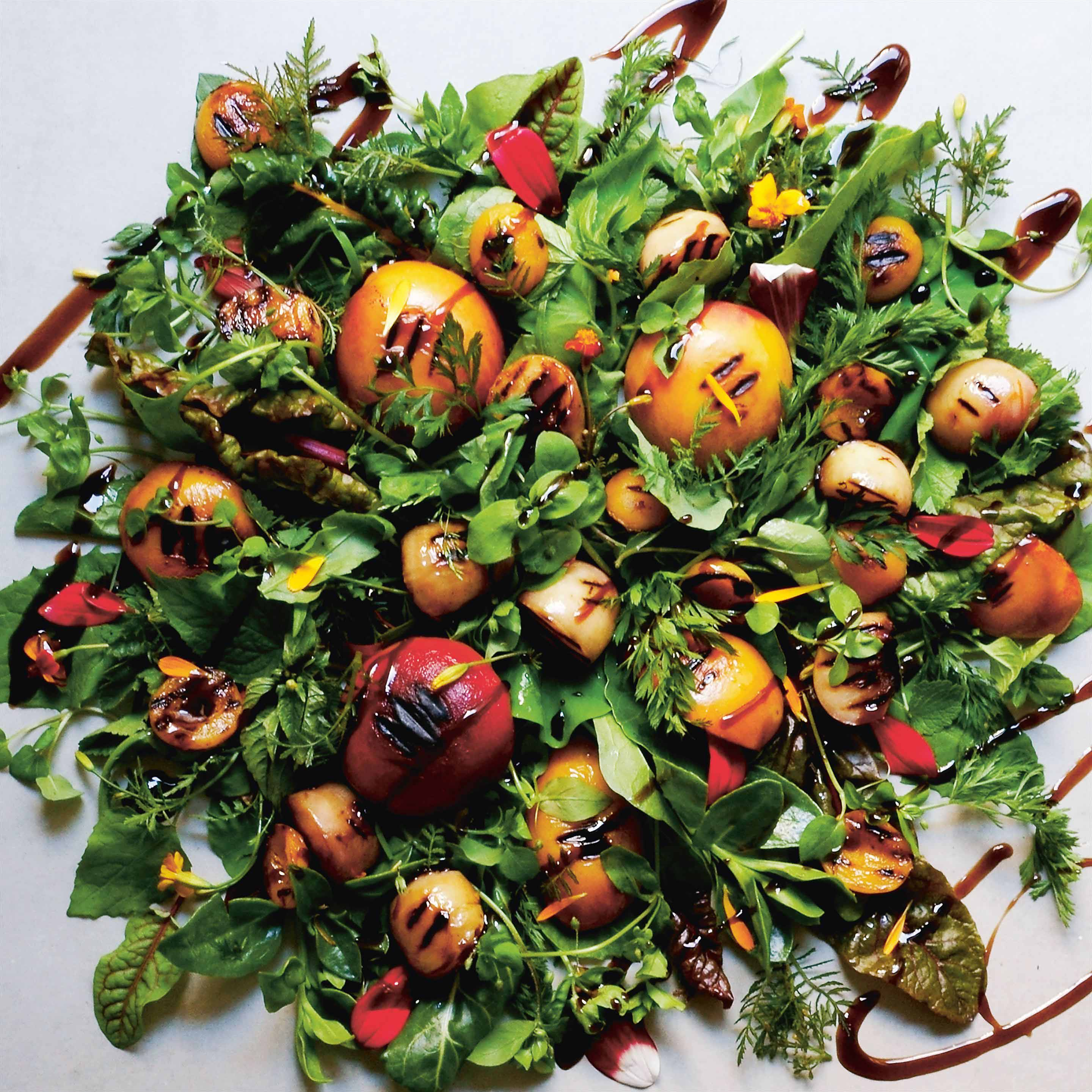 Grilled stone fruit and wild herb salad