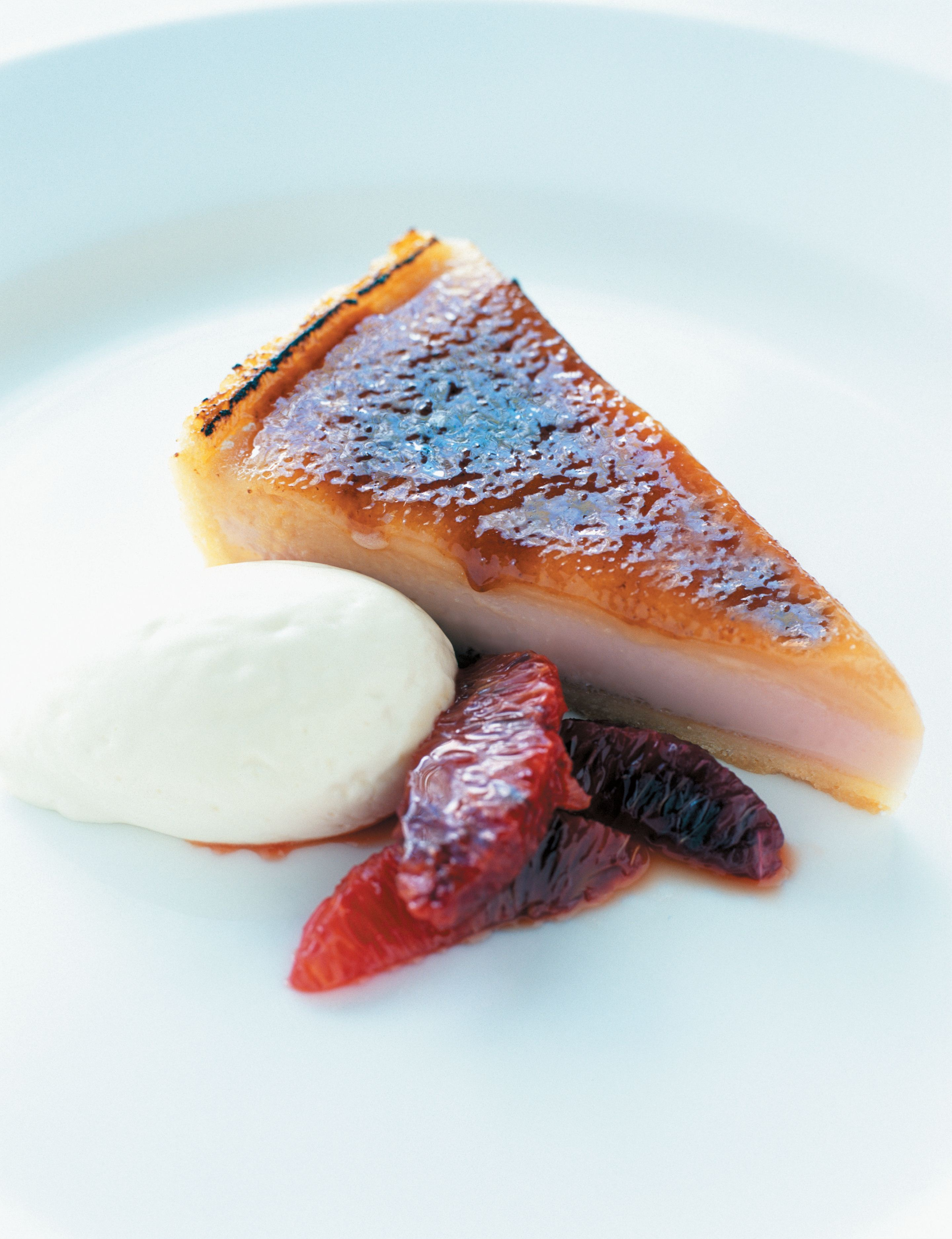 Caramelised blood orange tart with crème fraîche