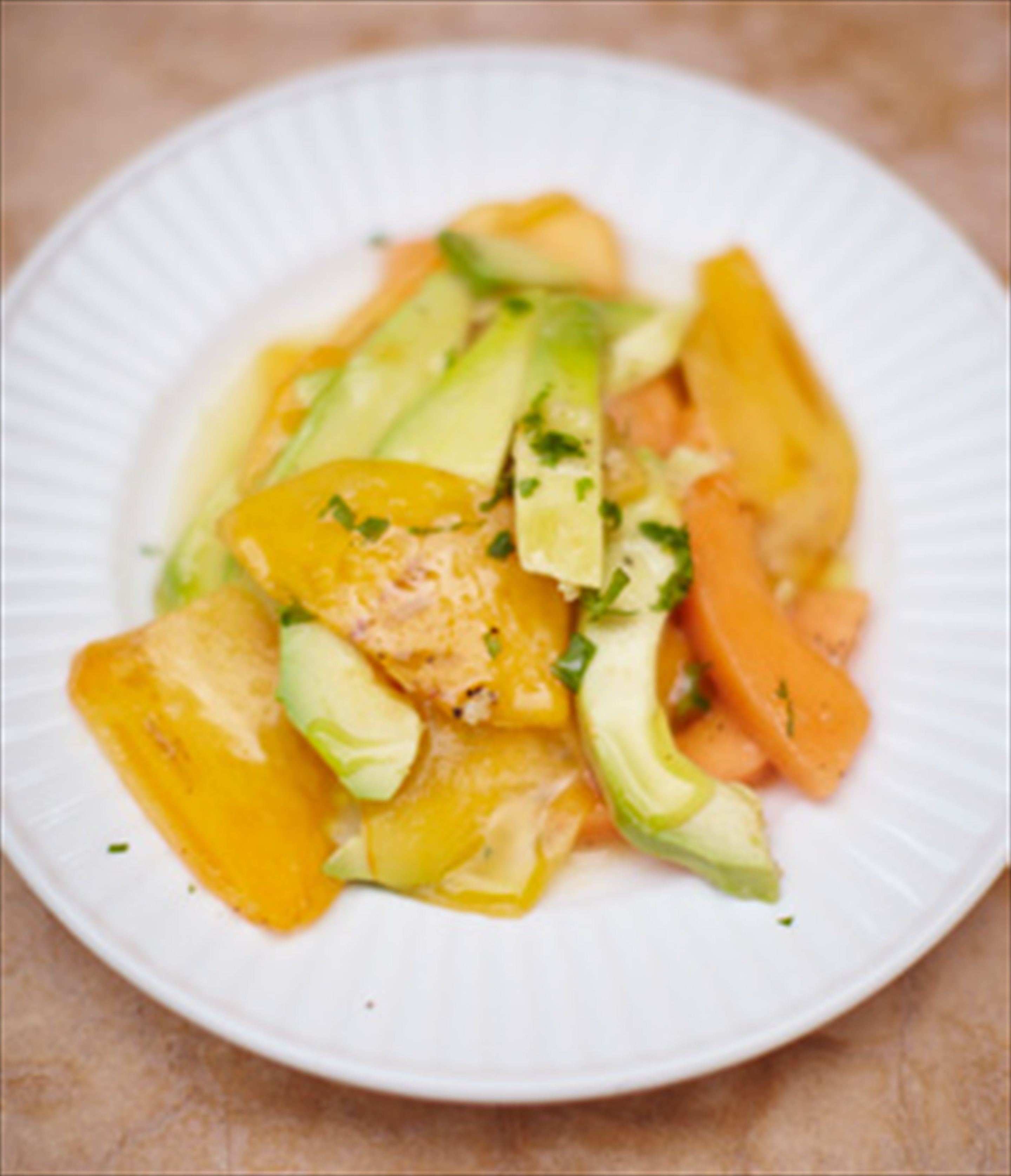 Avocado, persimmon & melon salad