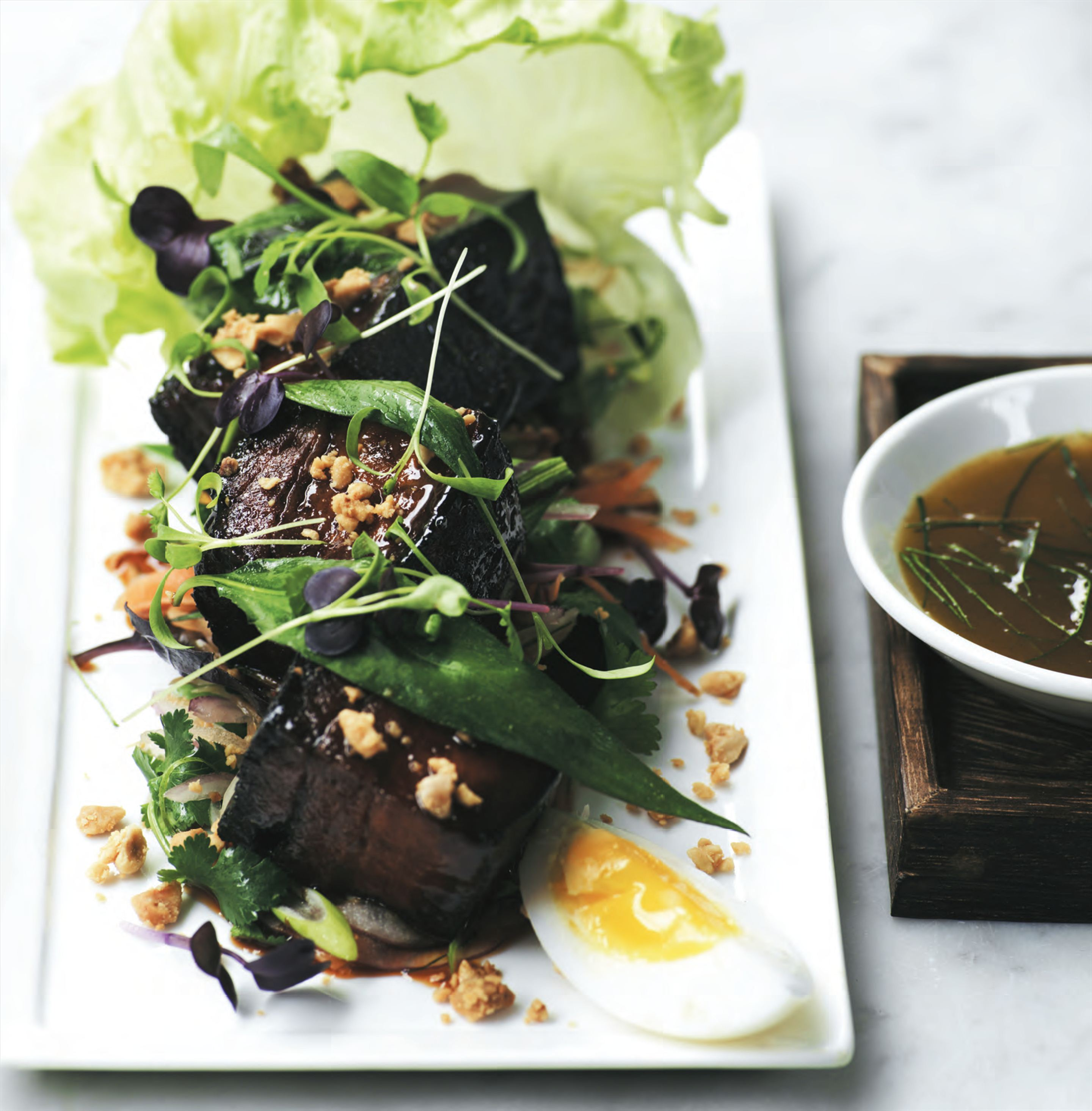 Sticky pork salad with Thai herbs