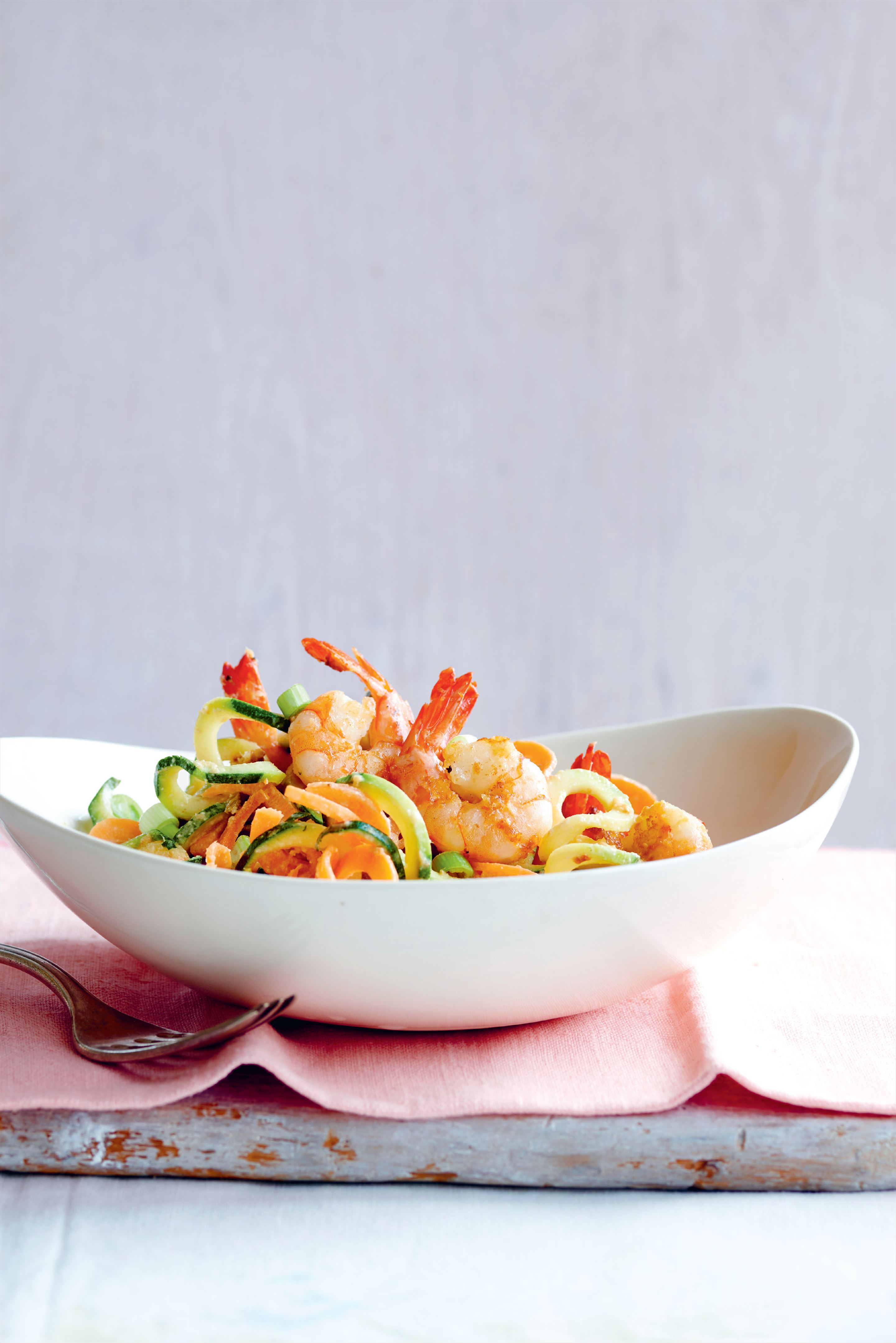Courgetti and prawns