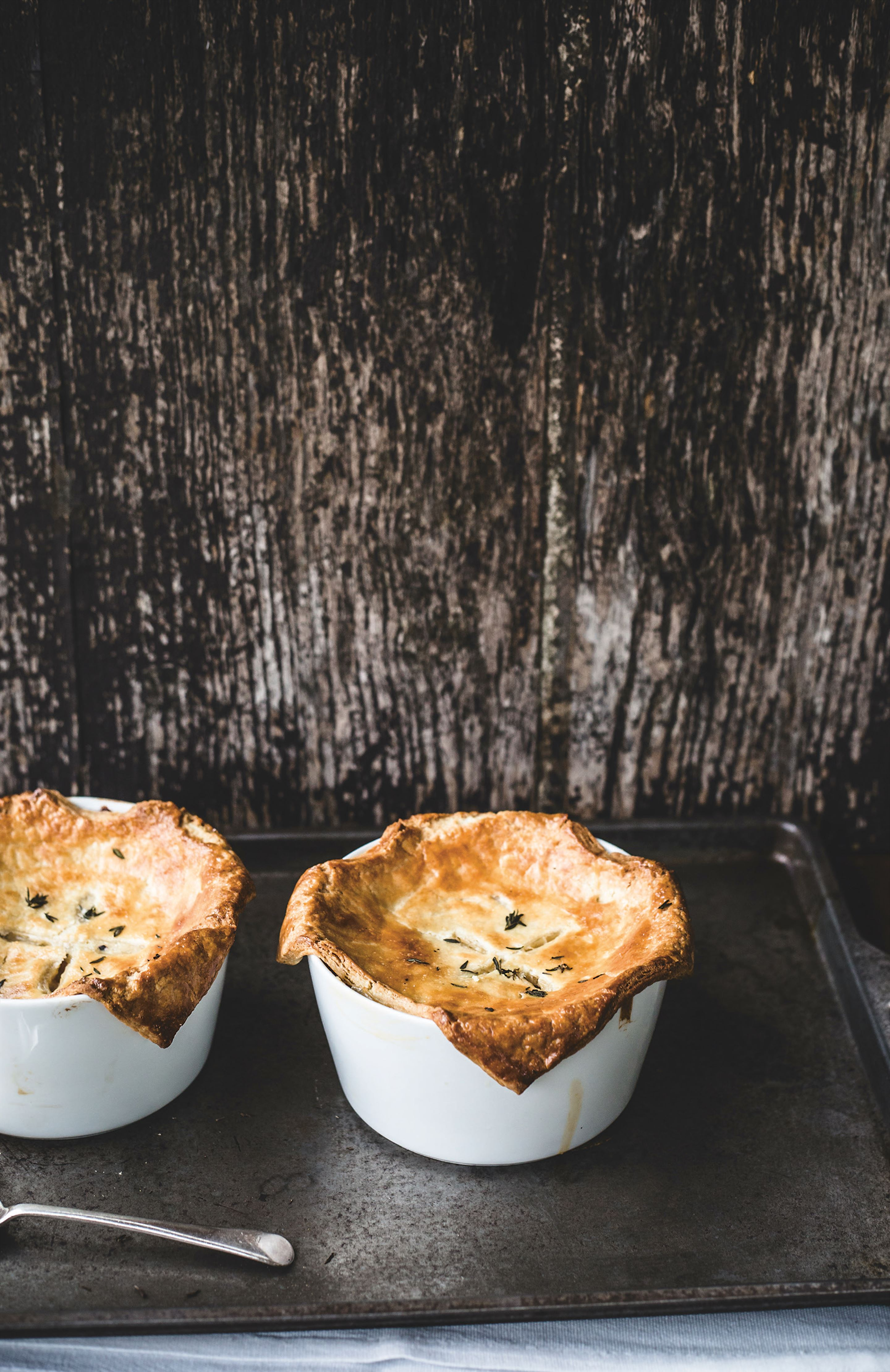 Caramelised onion, thyme and bean pot pies