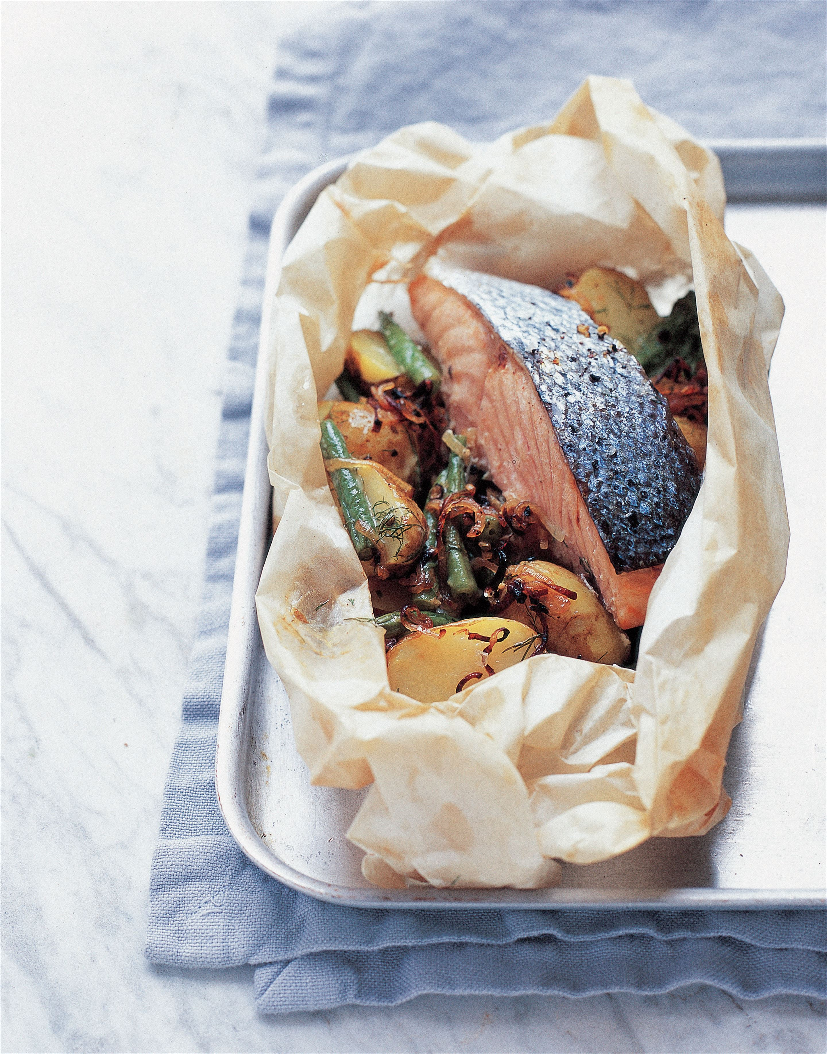 Creamy salmon, potato and bean parcels