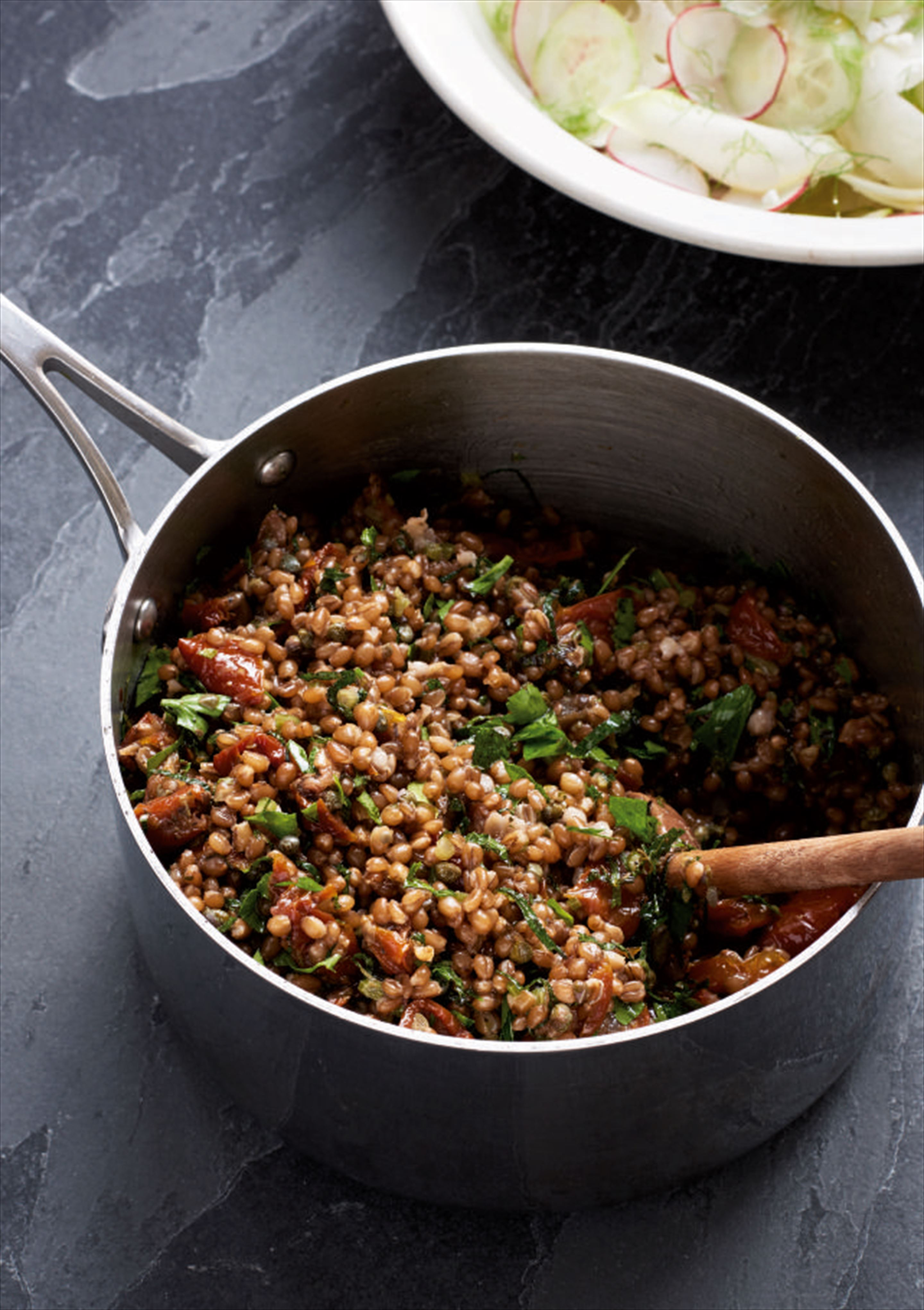 Wheat berries with capers and tomatoes