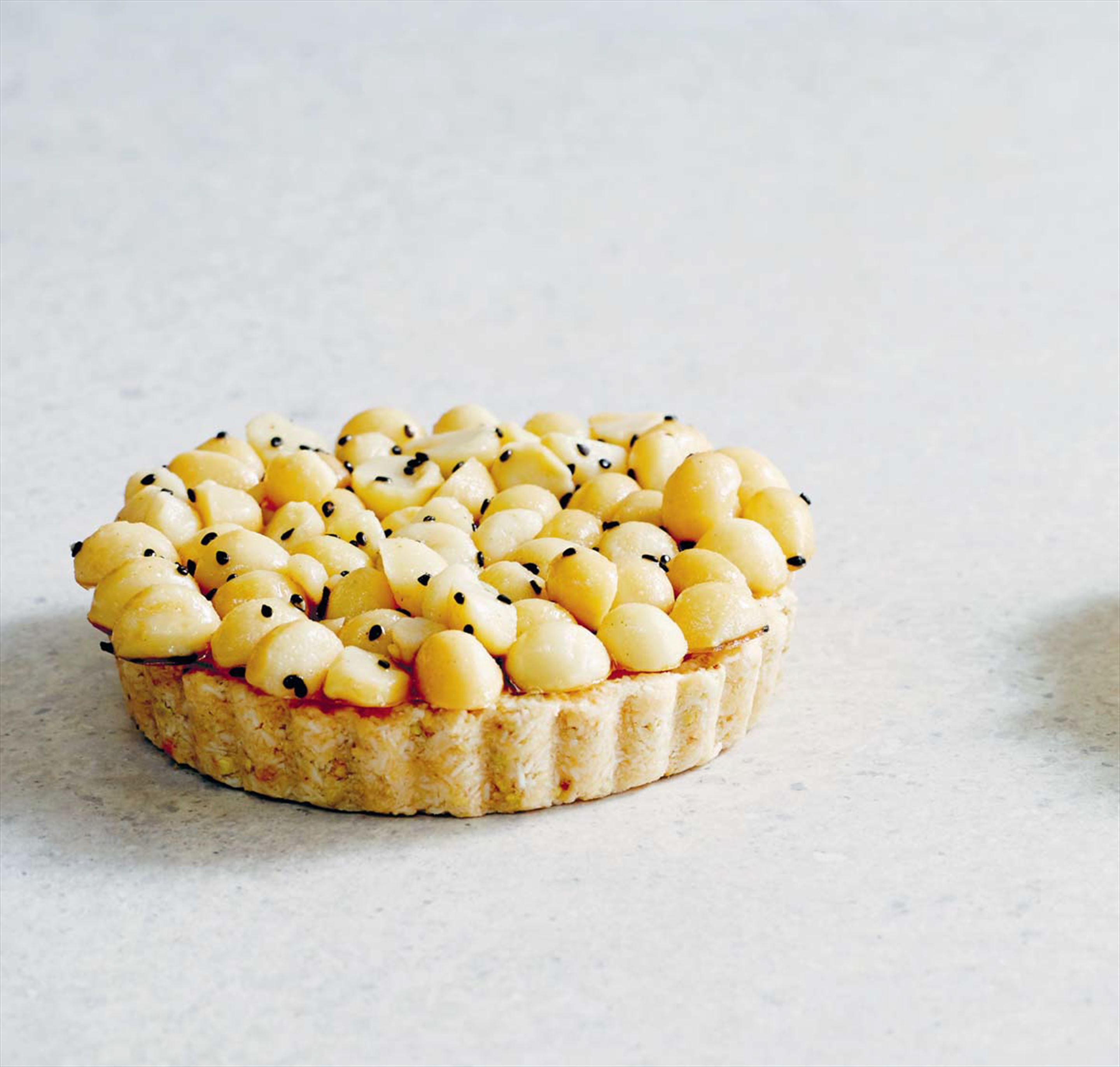 Mango and macadamia tart