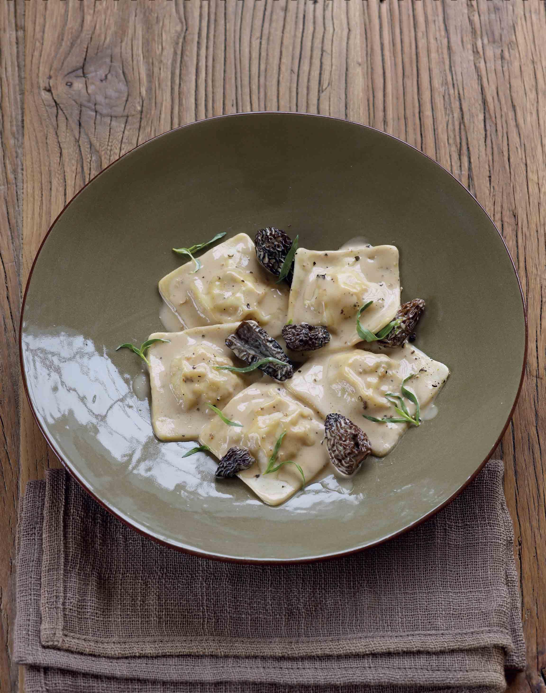 Chicken and wild mushroom ravioli with morels