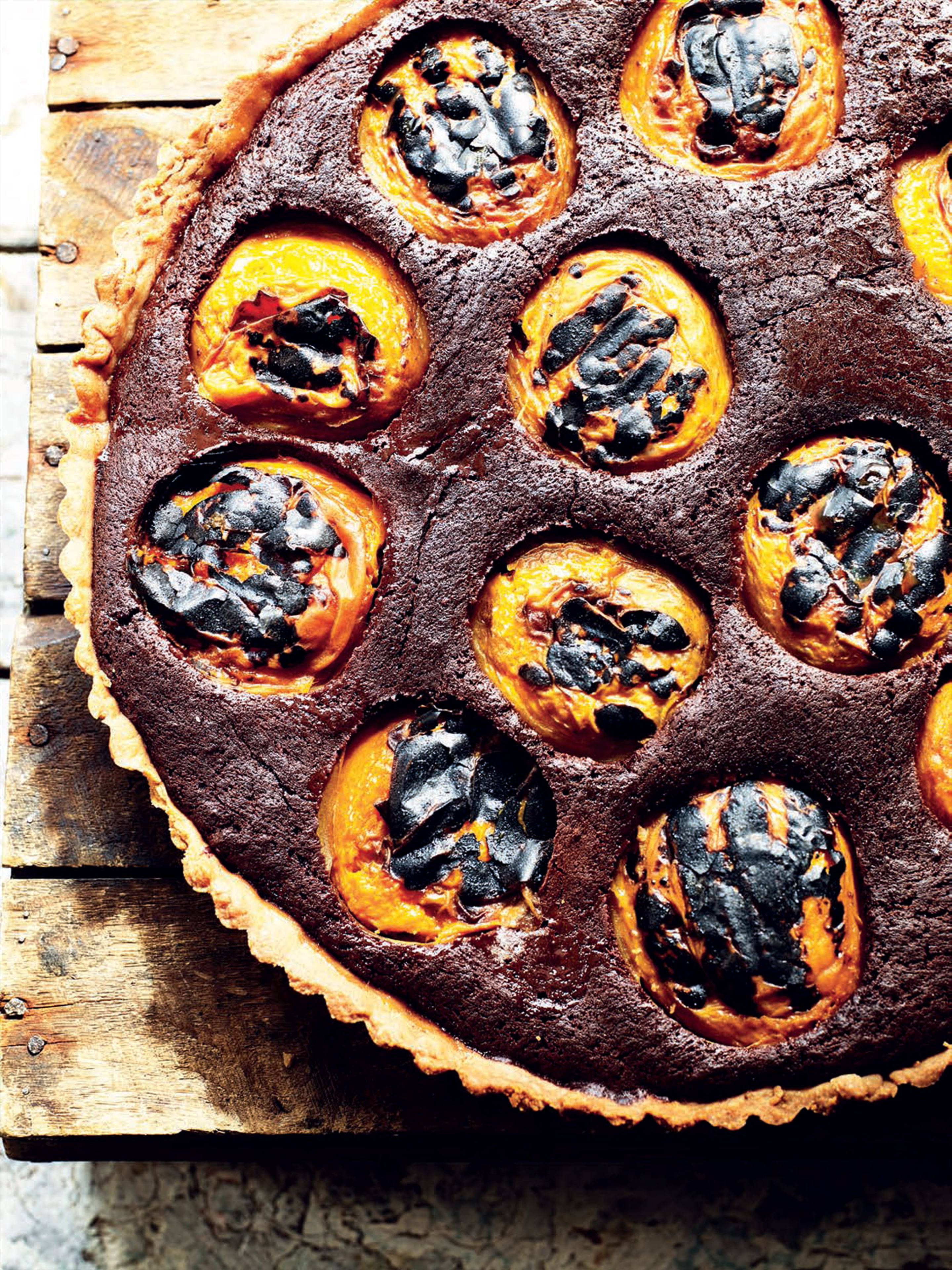 Milk chocolate and grilled apricot tart