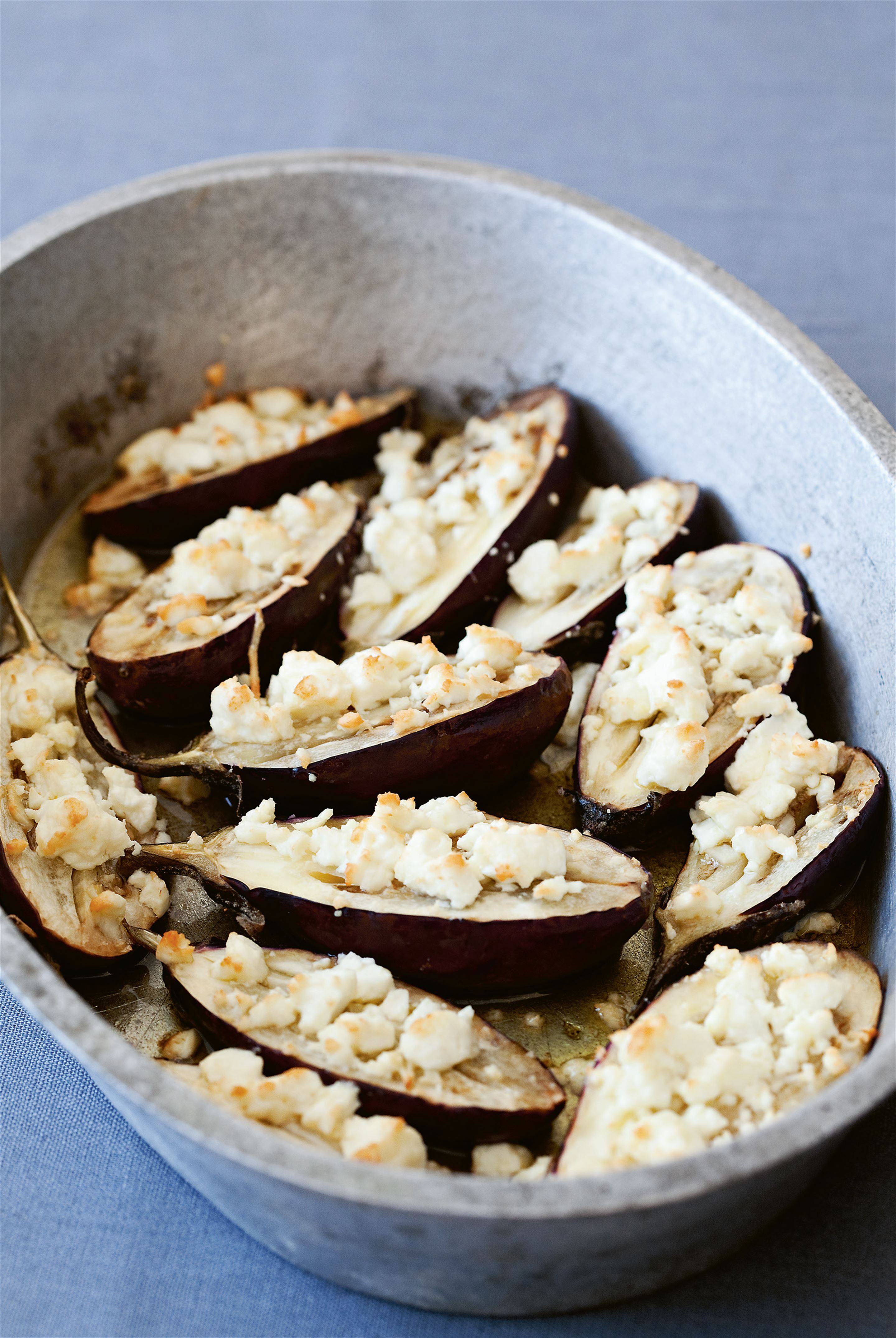 Aubergines baked with feta cheese