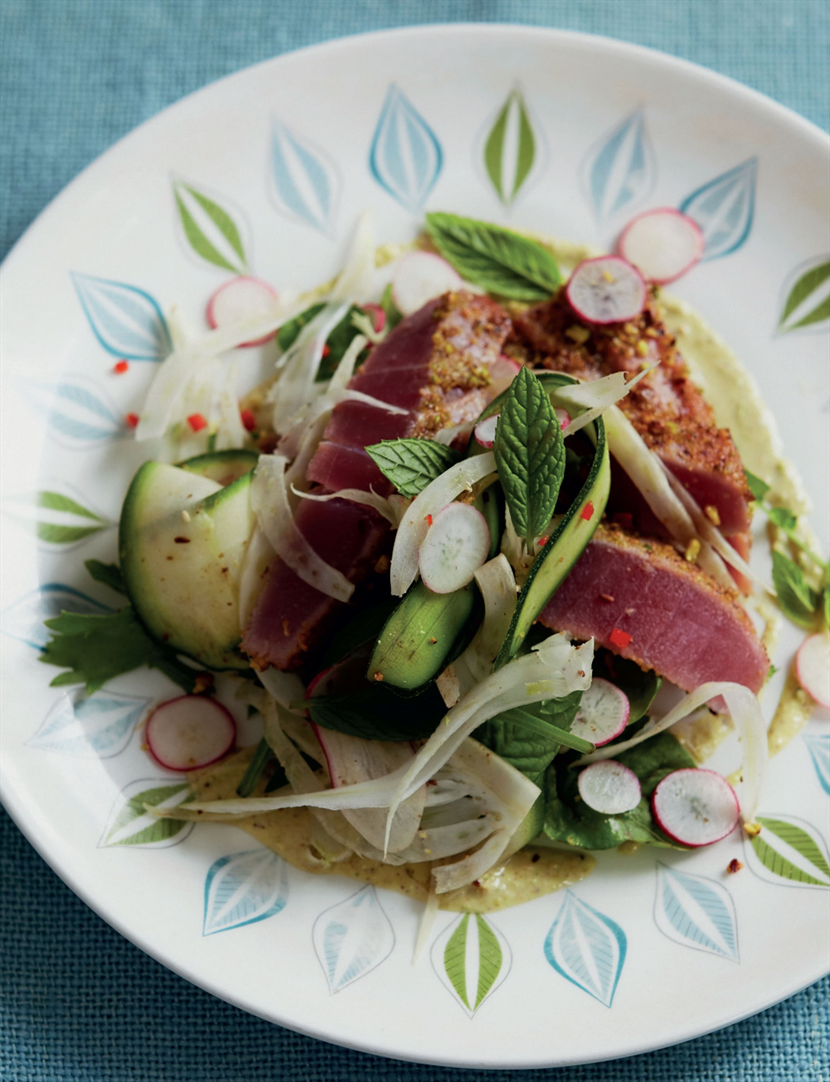 Pistachio-crusted seared tuna salad