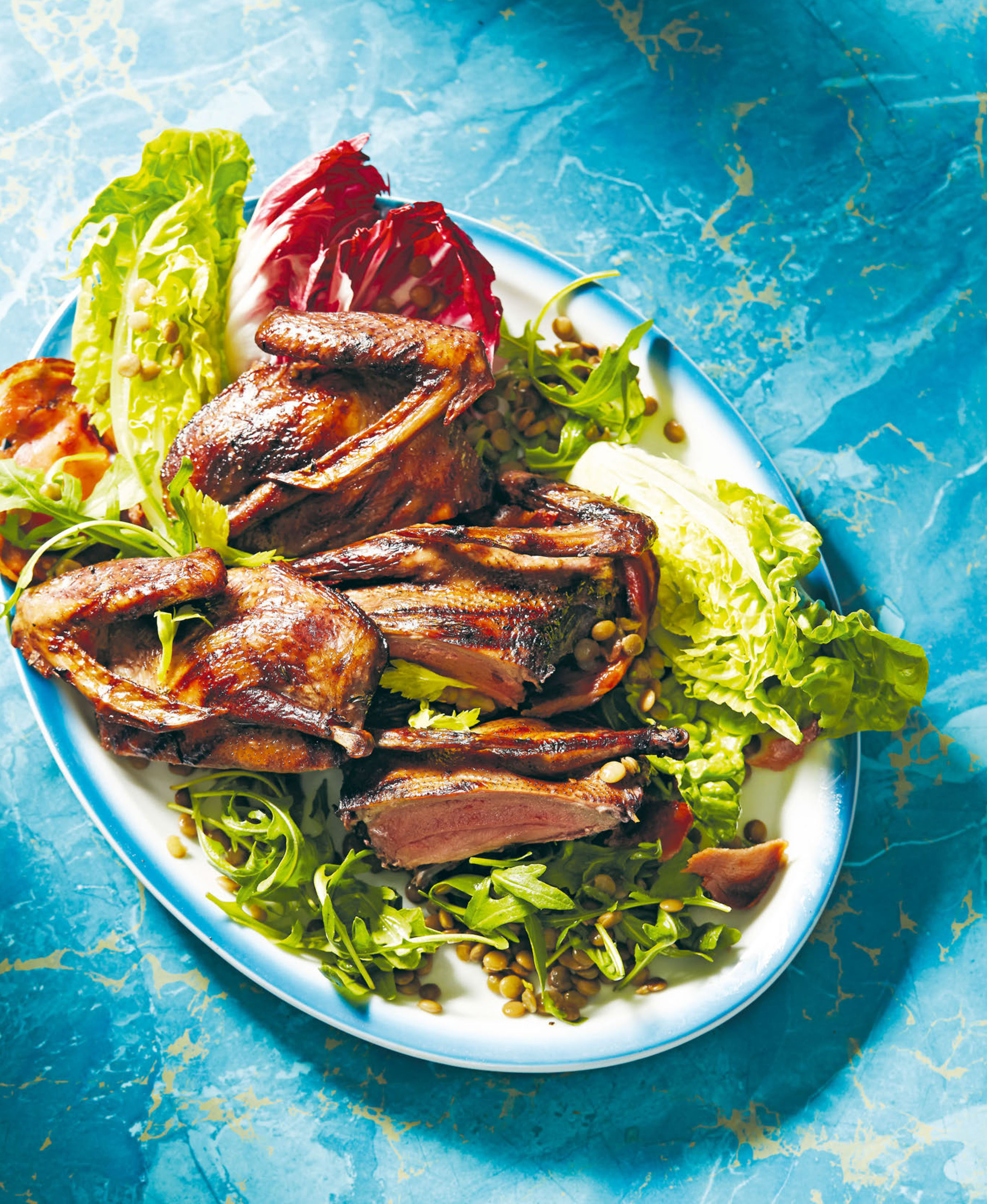 Pigeon, lentil and pancetta salad