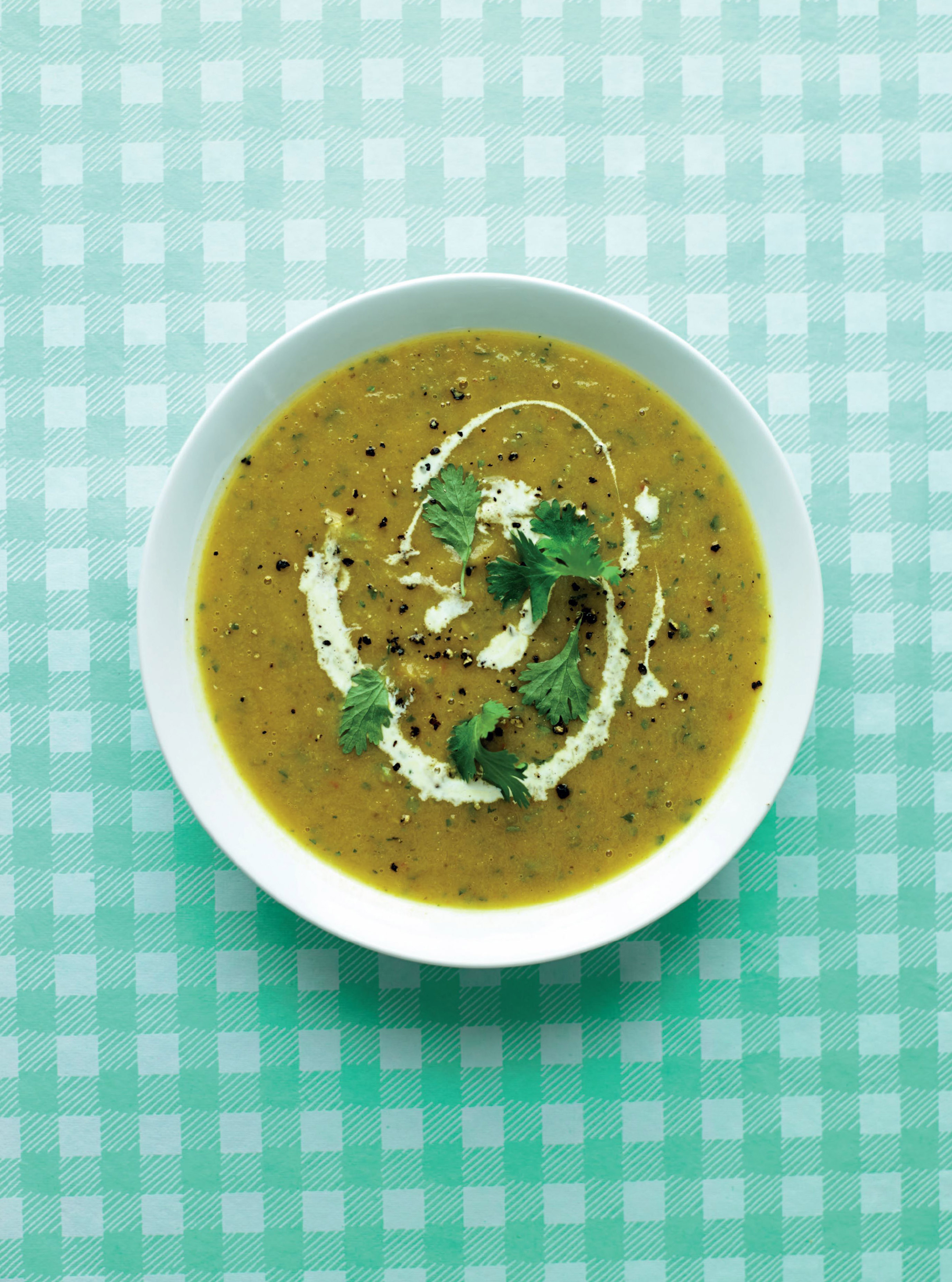 Carrot and sweet potato soup with chilli and cumin