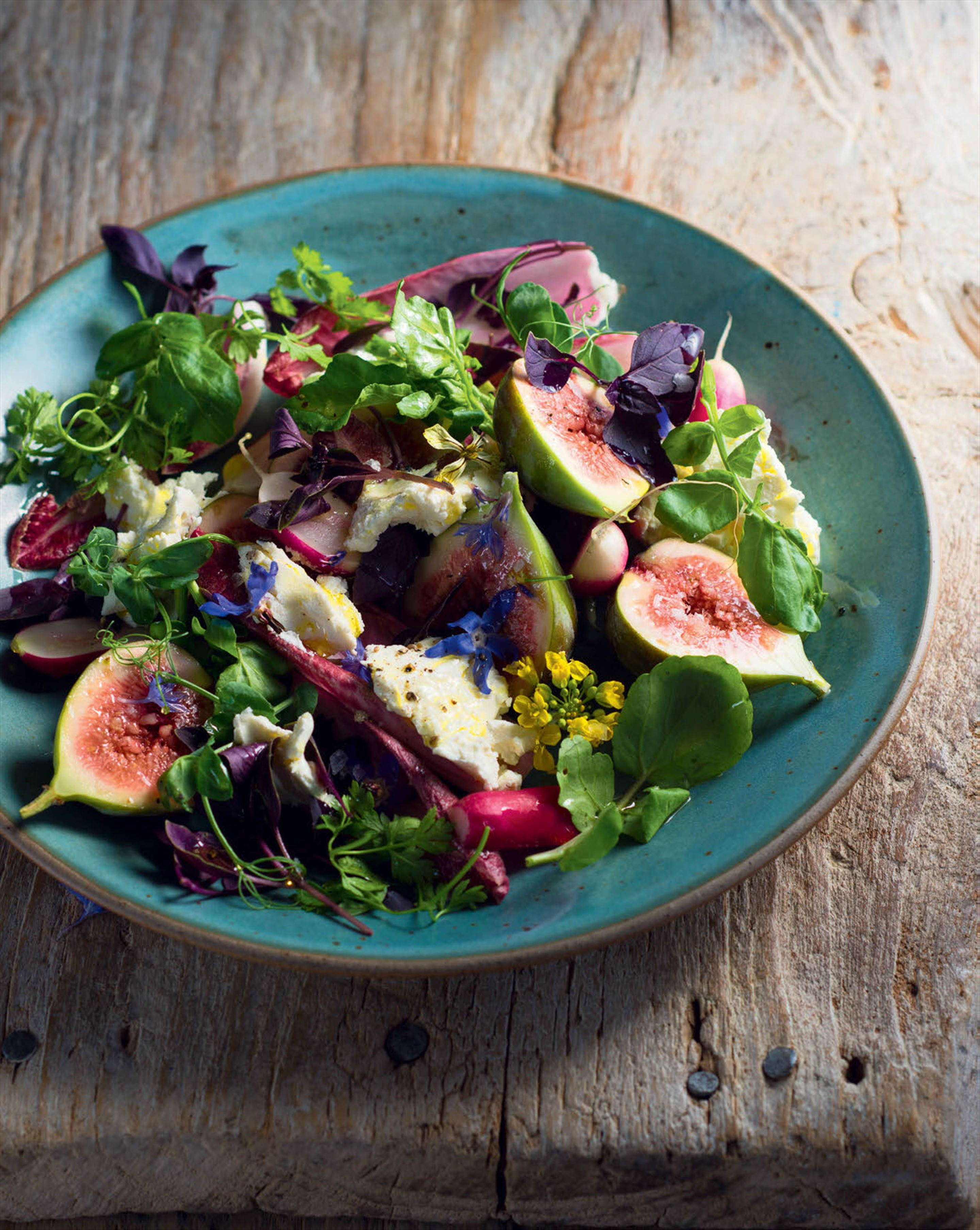 Persian soft herb salad with fresh figs & labneh