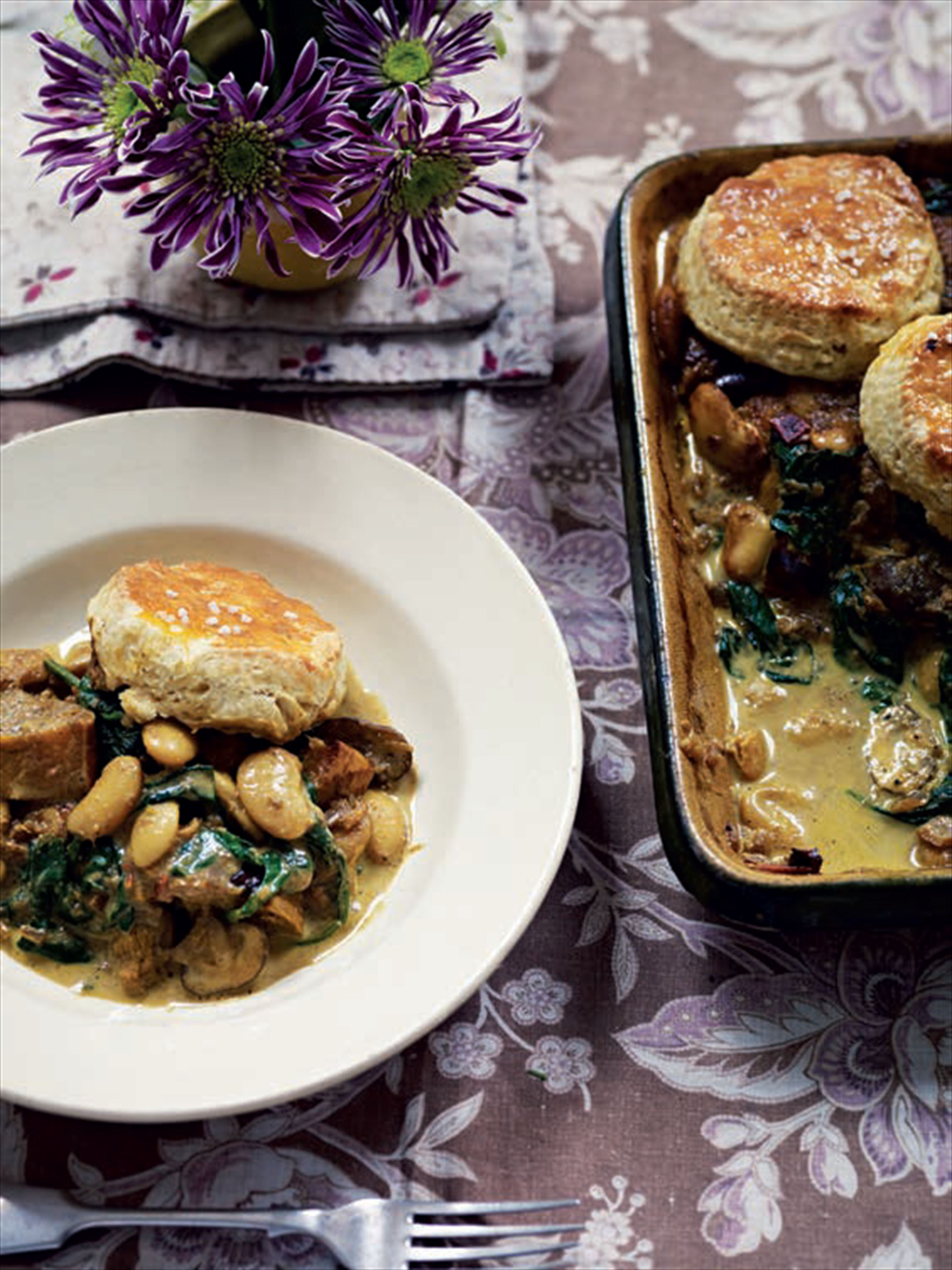 Autumnal squash, butterbean and mushroom cobbler