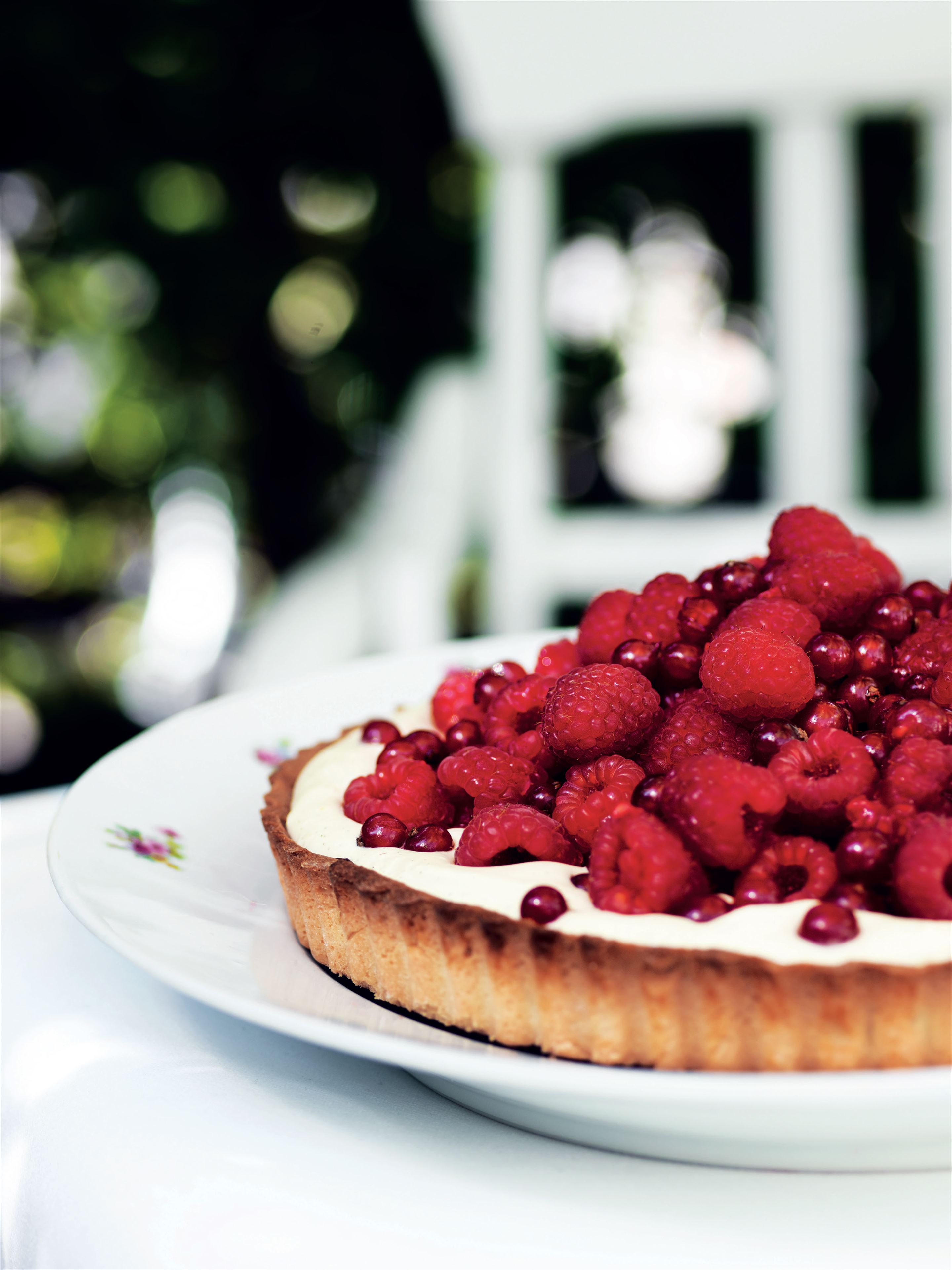 Raspberry and redcurrant tart