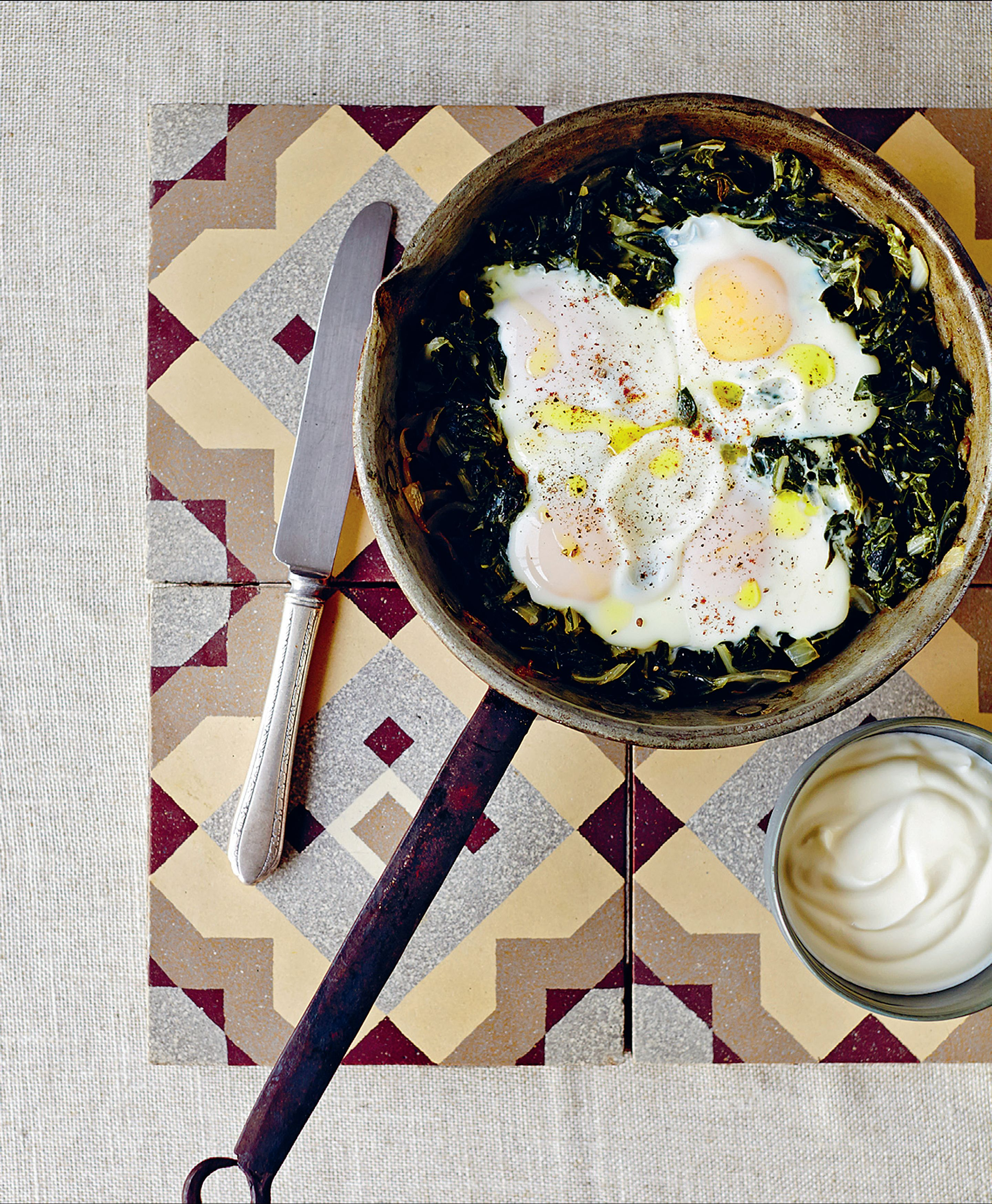 Silverbeet with eggs