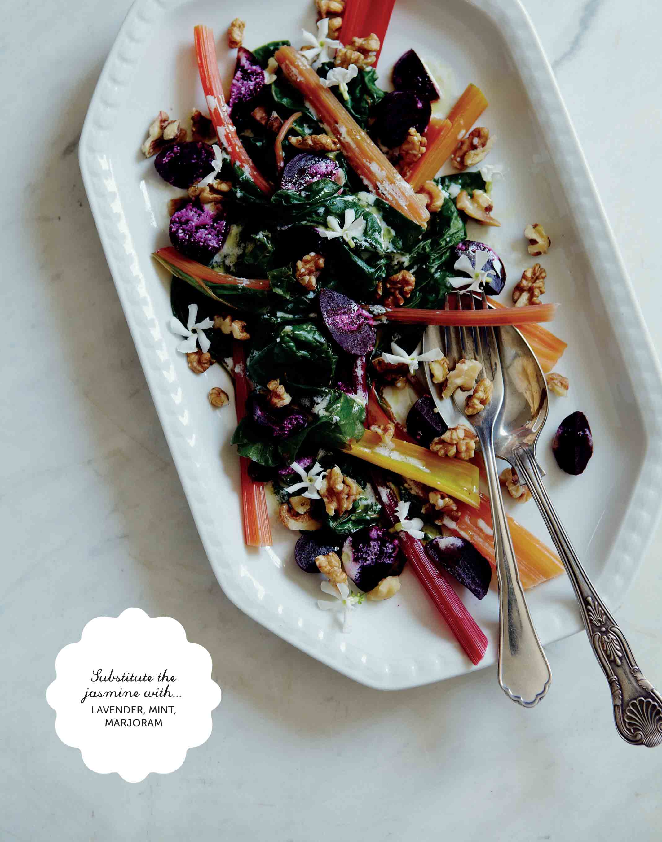 Rainbow chard salad with a jasmine dressing