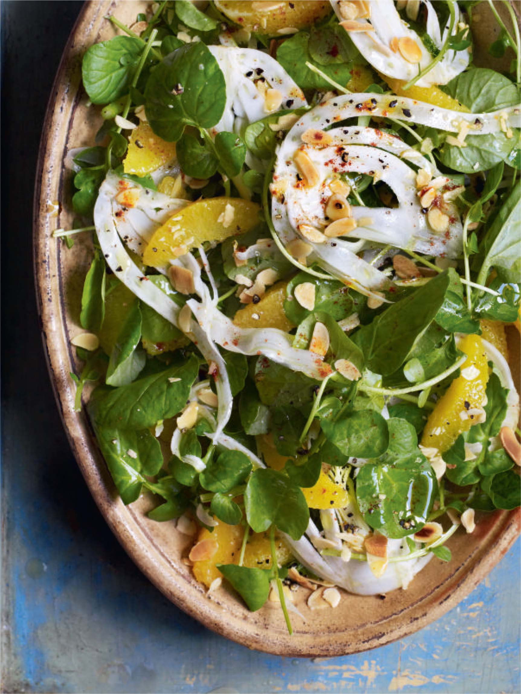 Watercress salad with fennel and orange