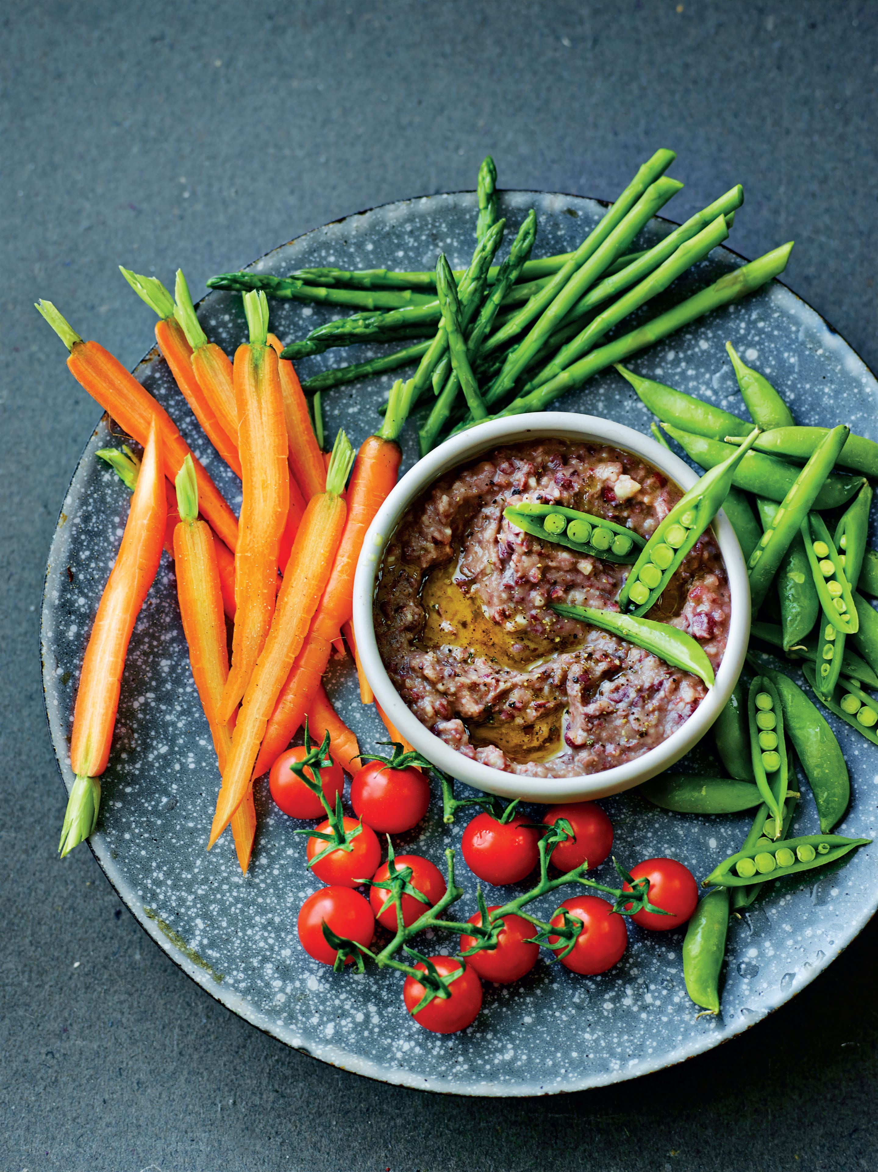 Heart-healthy red bean smoosh with crunchy crudités