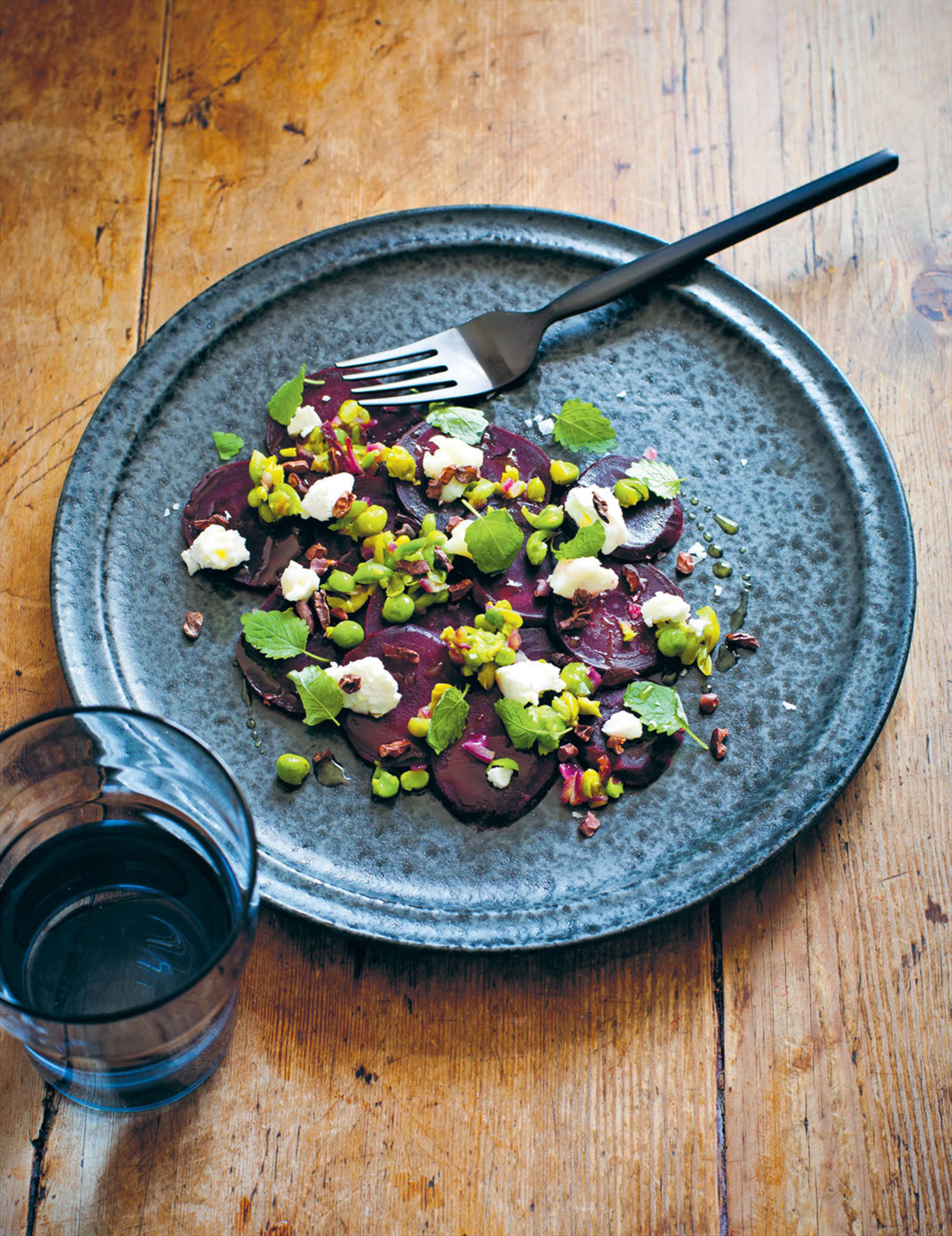 Beetroot, goat's cheese, pea relish & cocoa nibs
