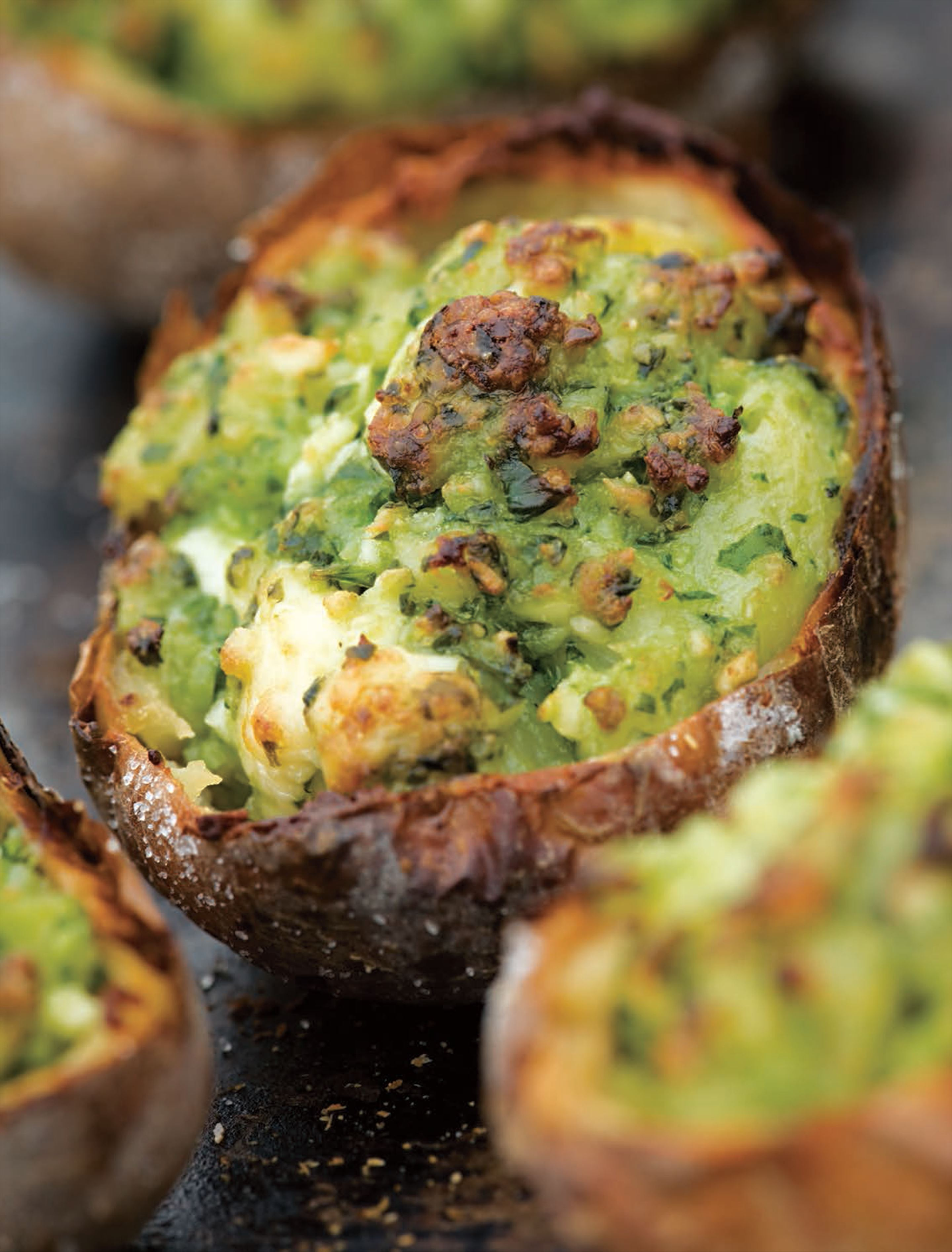 Stuffed baked potatoes with pesto