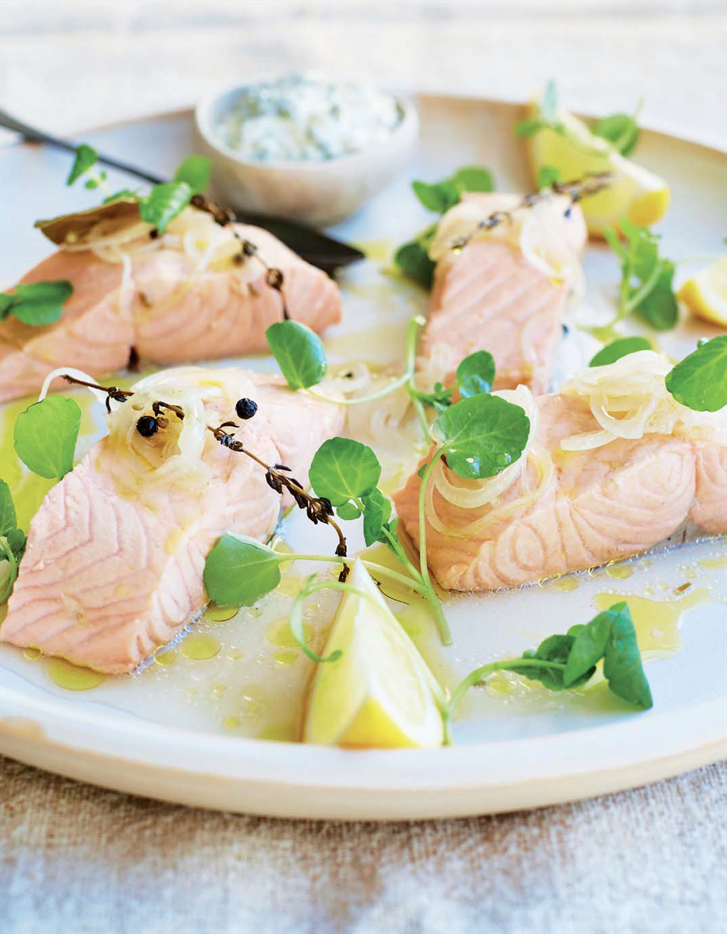 Poached salmon, watercress and olive oil hollandaise