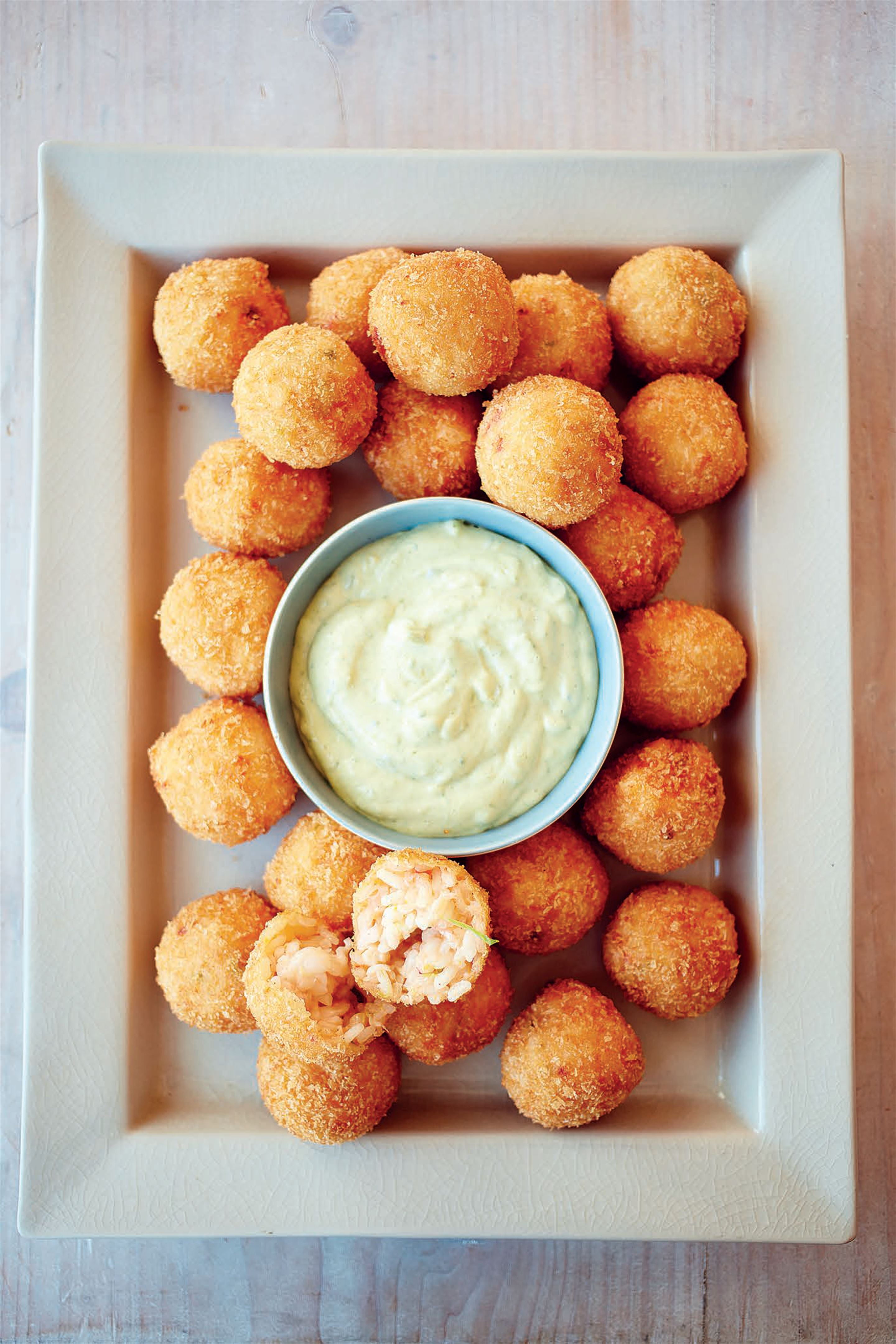 Lobster risotto balls, basil and orange mayonnaise