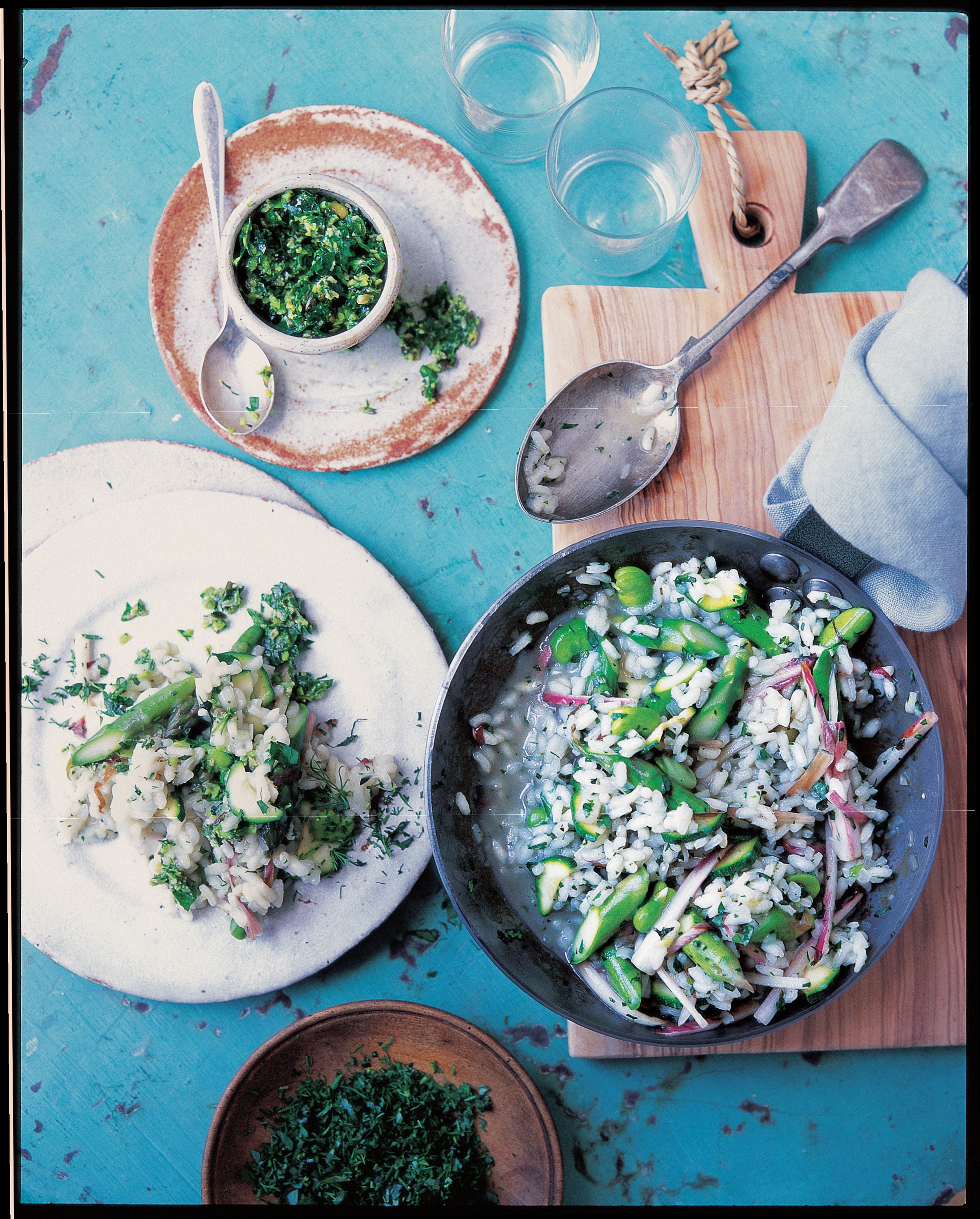 Risotto with pumpkin seed, mint and broad bean pesto