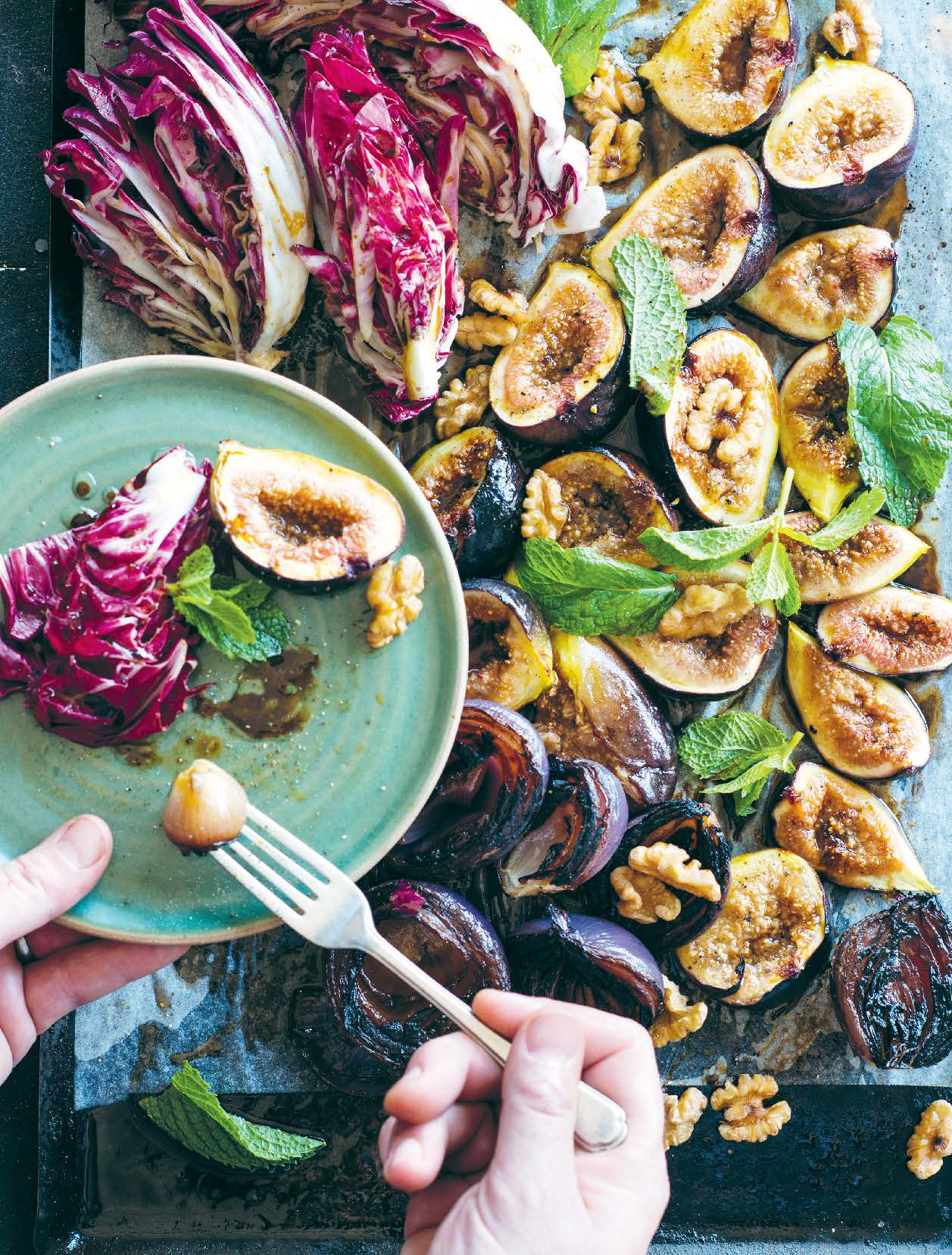 Figs, roast onions, walnuts and radicchio
