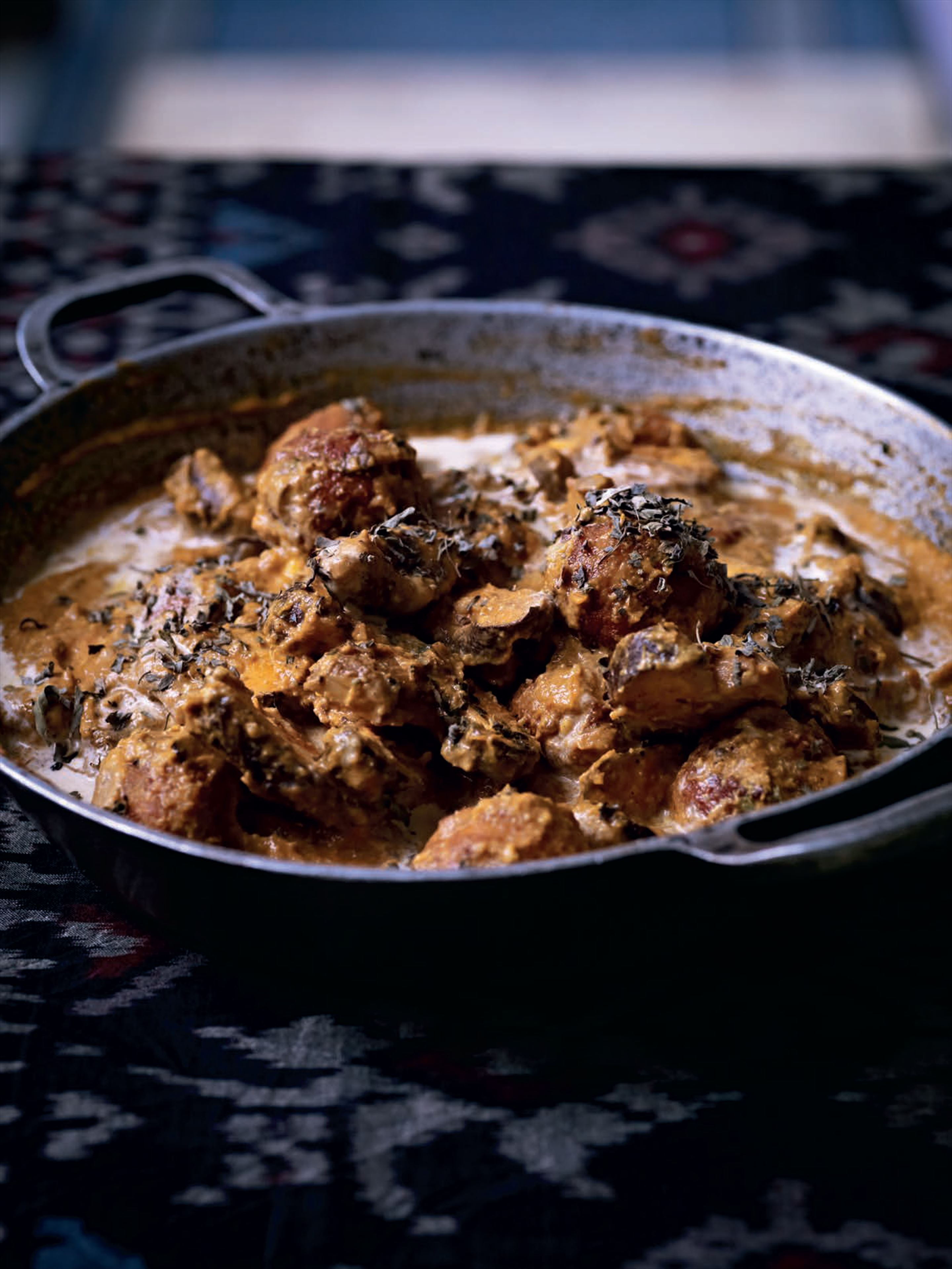 Paneer koftas and shiitake mushroom curry