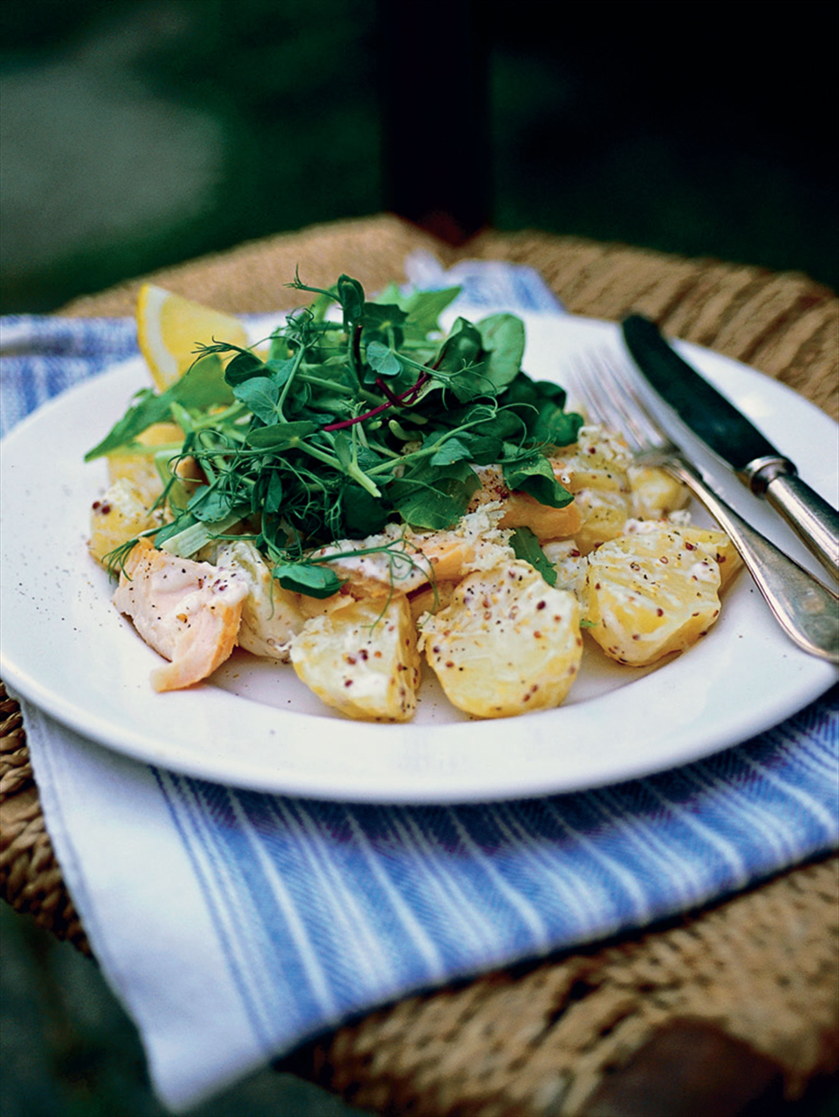 Creamy mustard potato salad with smoked trout