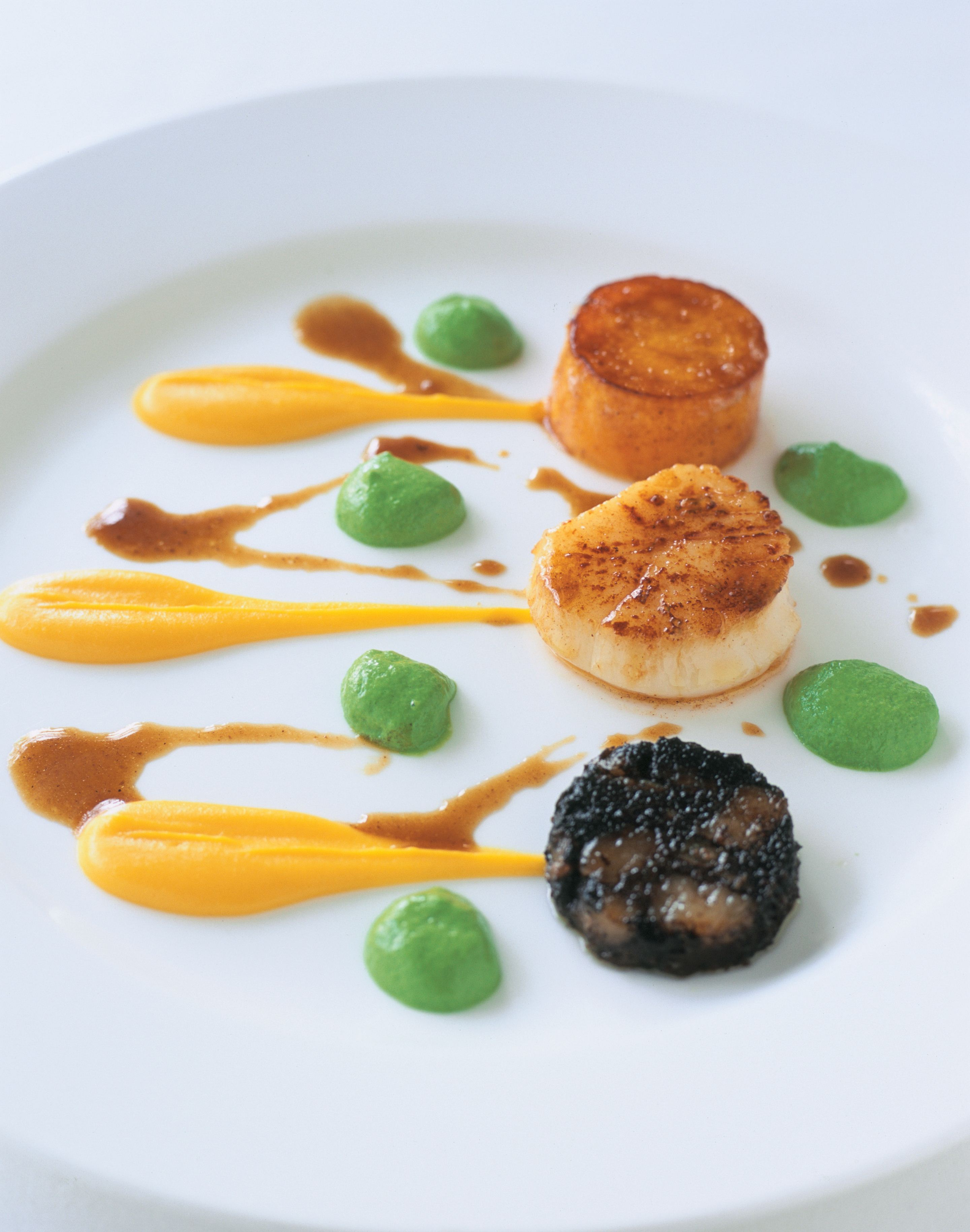 Caramelised boudin noir, scallops and butternut pumpkin with herb foam and sherry jus