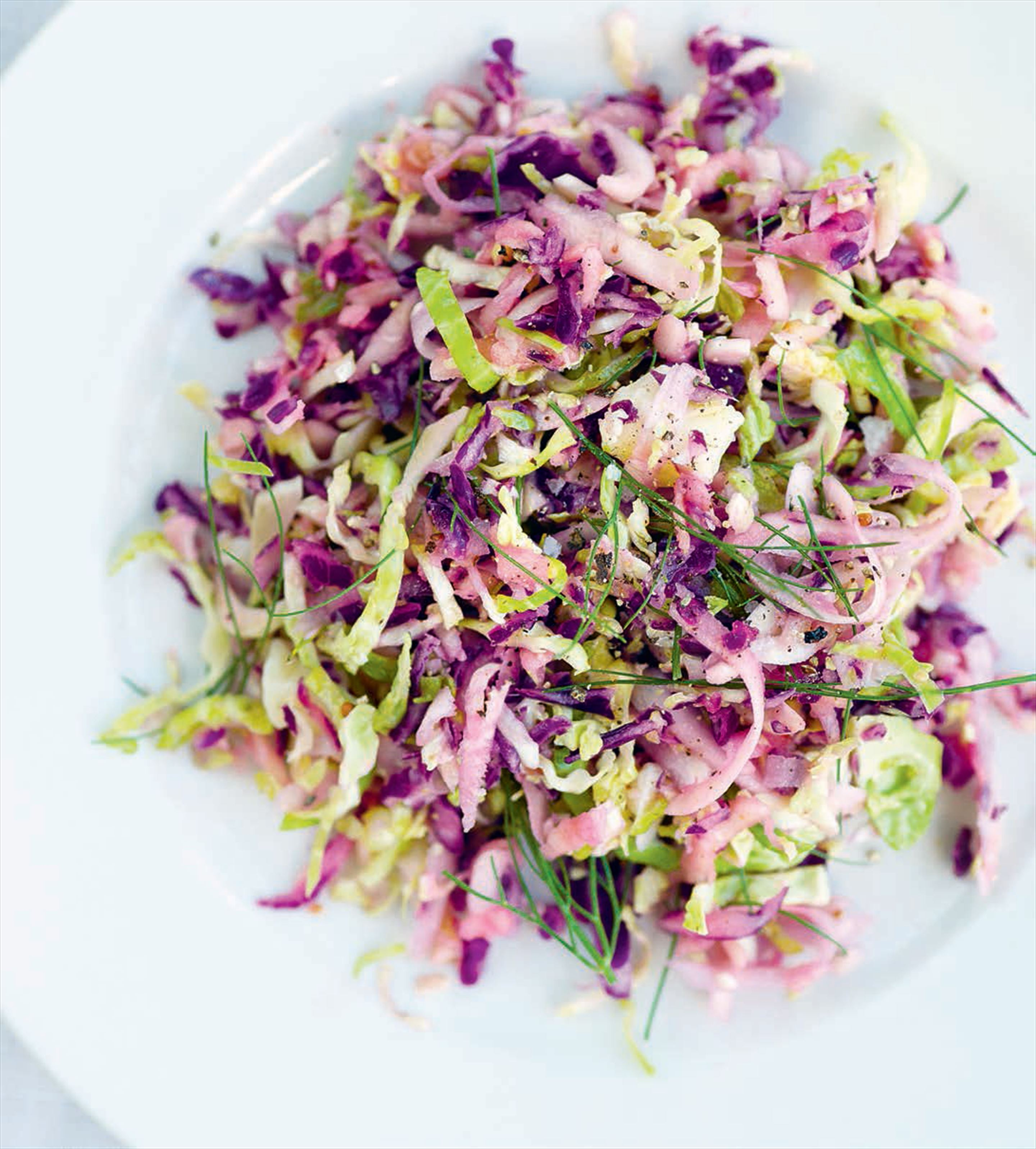Brussels, celeriac & red cabbage slaw